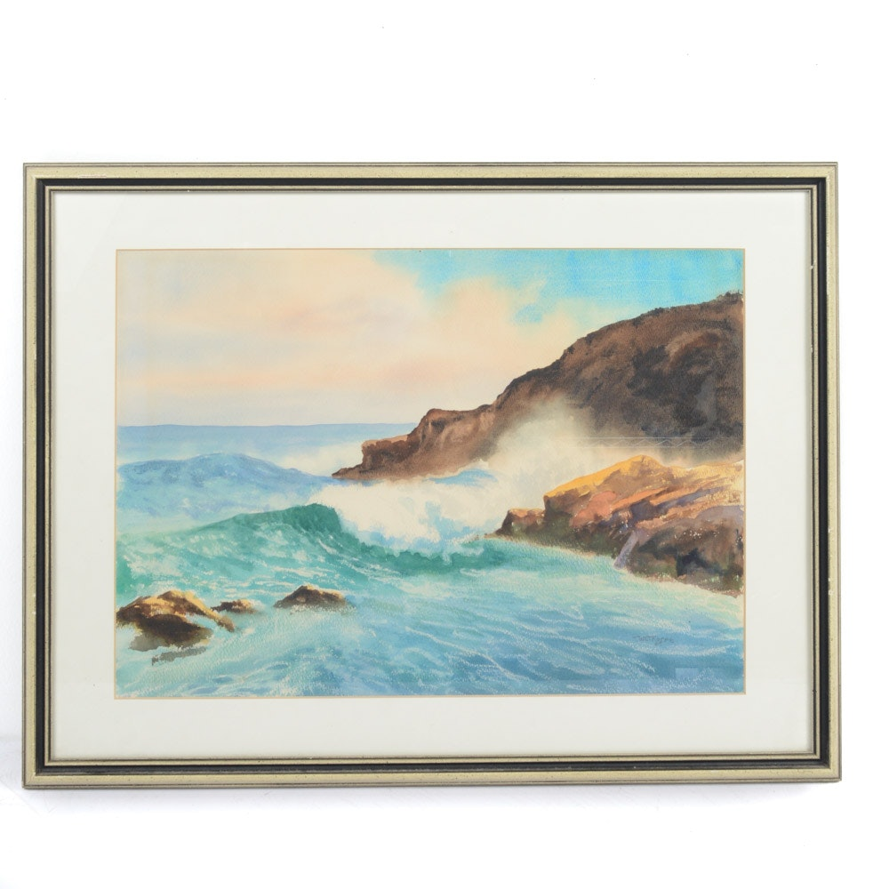 Westhorpe Watercolor on Paper Seascape Painting