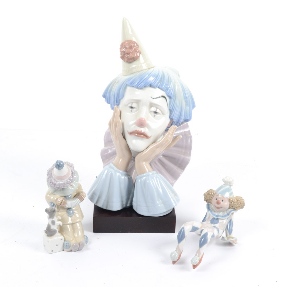 Lladró Porcelain Clown Bust and Figurines