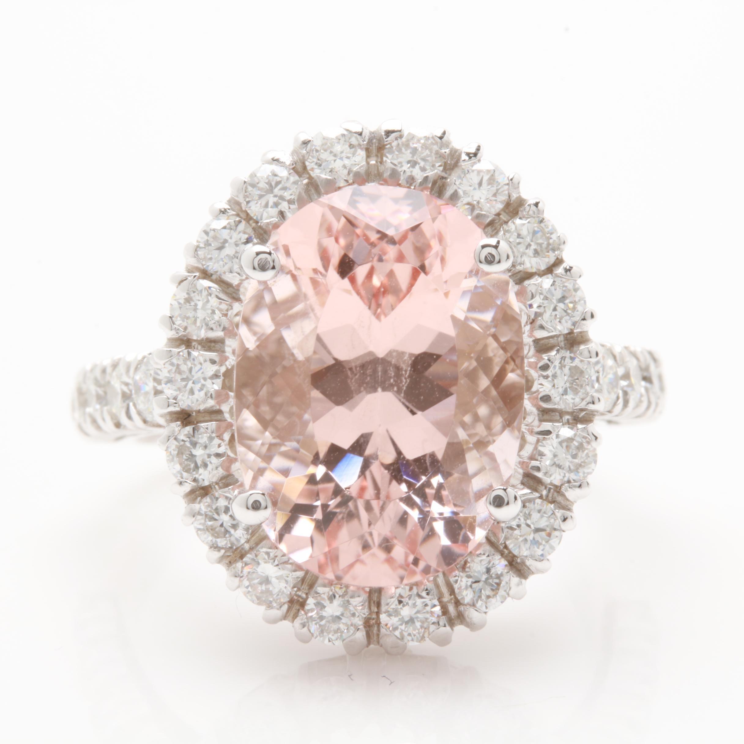 14K White Gold 6.46 CT Morganite and 1.17 CTW Diamond Ring