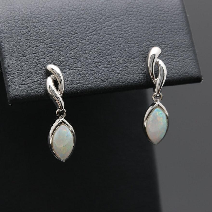 14k White Gold Opal Earrings