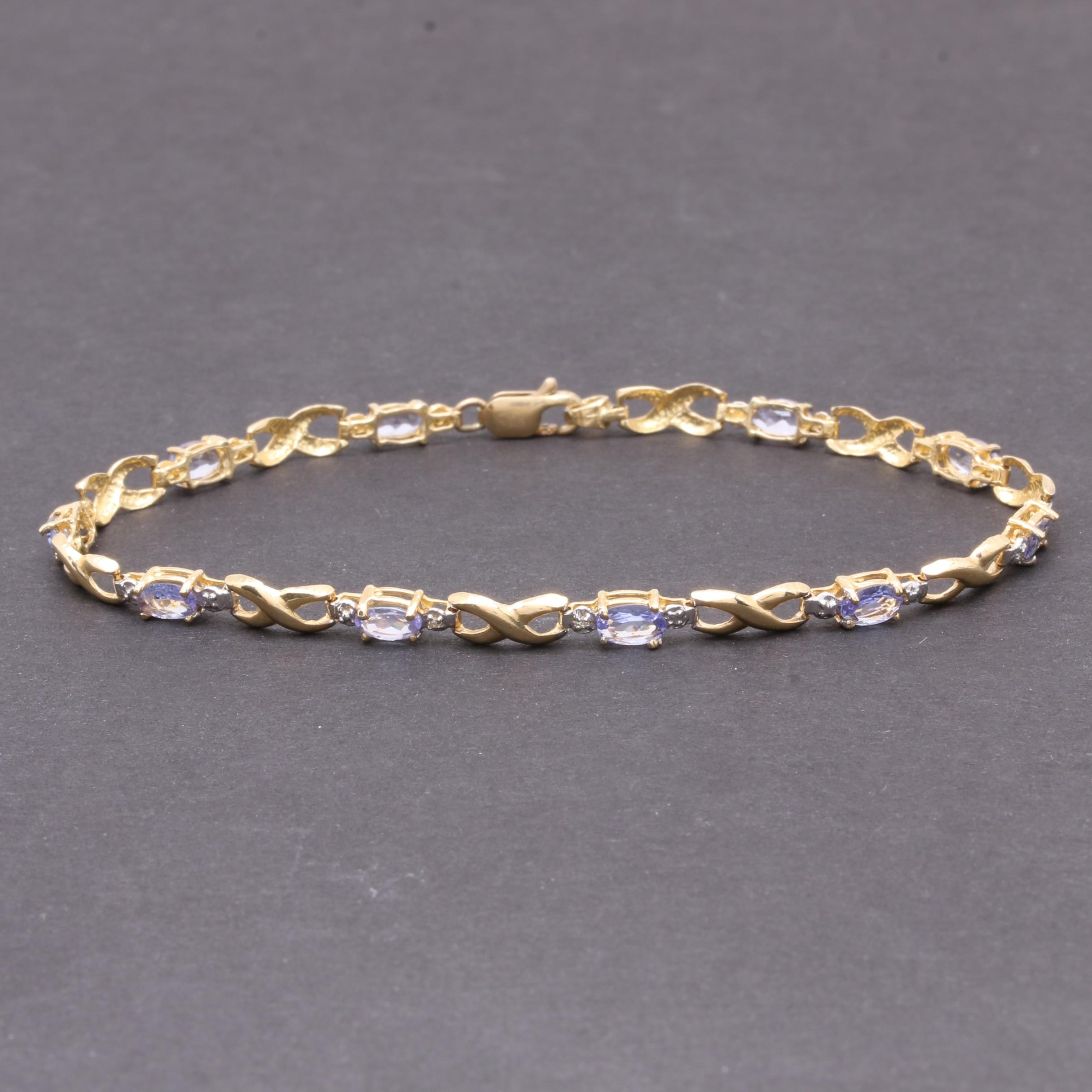 14K Yellow Gold 2.42 CTW Tanzanite Bracelet