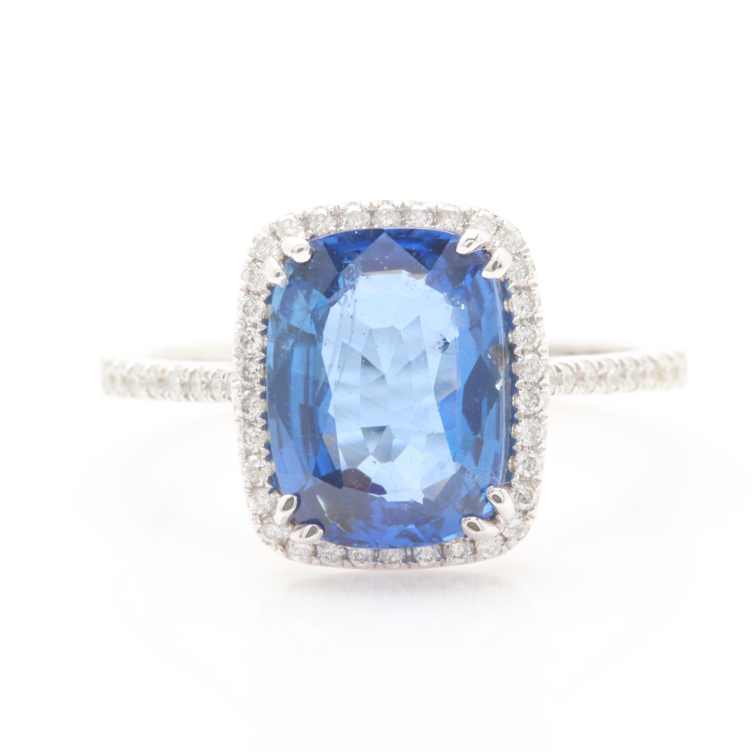 14K White Gold 3.02 CT Blue Sapphire and Diamond Ring