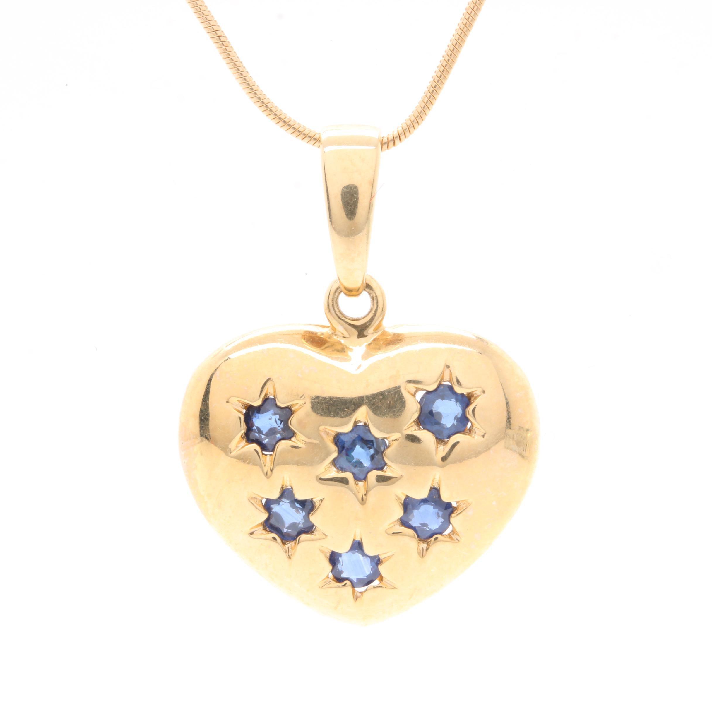 14K Yellow Gold Sapphire Heart Pendant Necklace