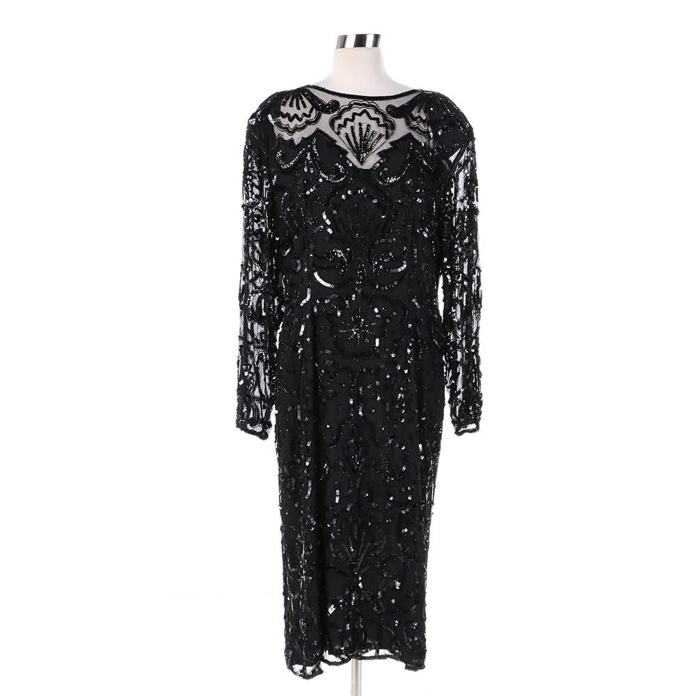 Vintage Black Silk Beaded and Sequined Cocktail Dress