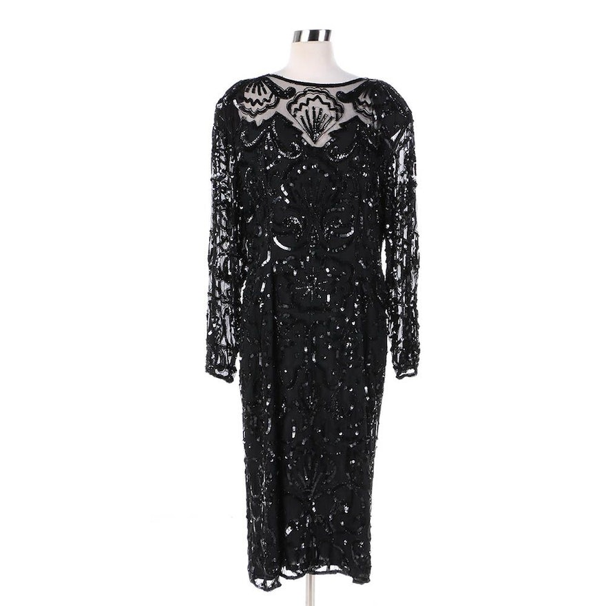 Vintage Black Silk Beaded and Sequined Cocktail Dress : EBTH