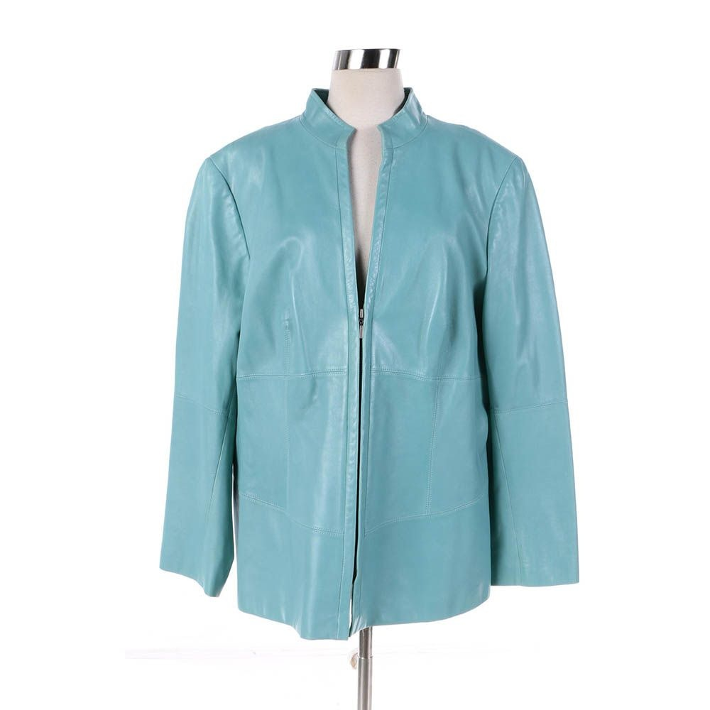 Women's Lafayette 148 New York Light Blue Leather Jacket