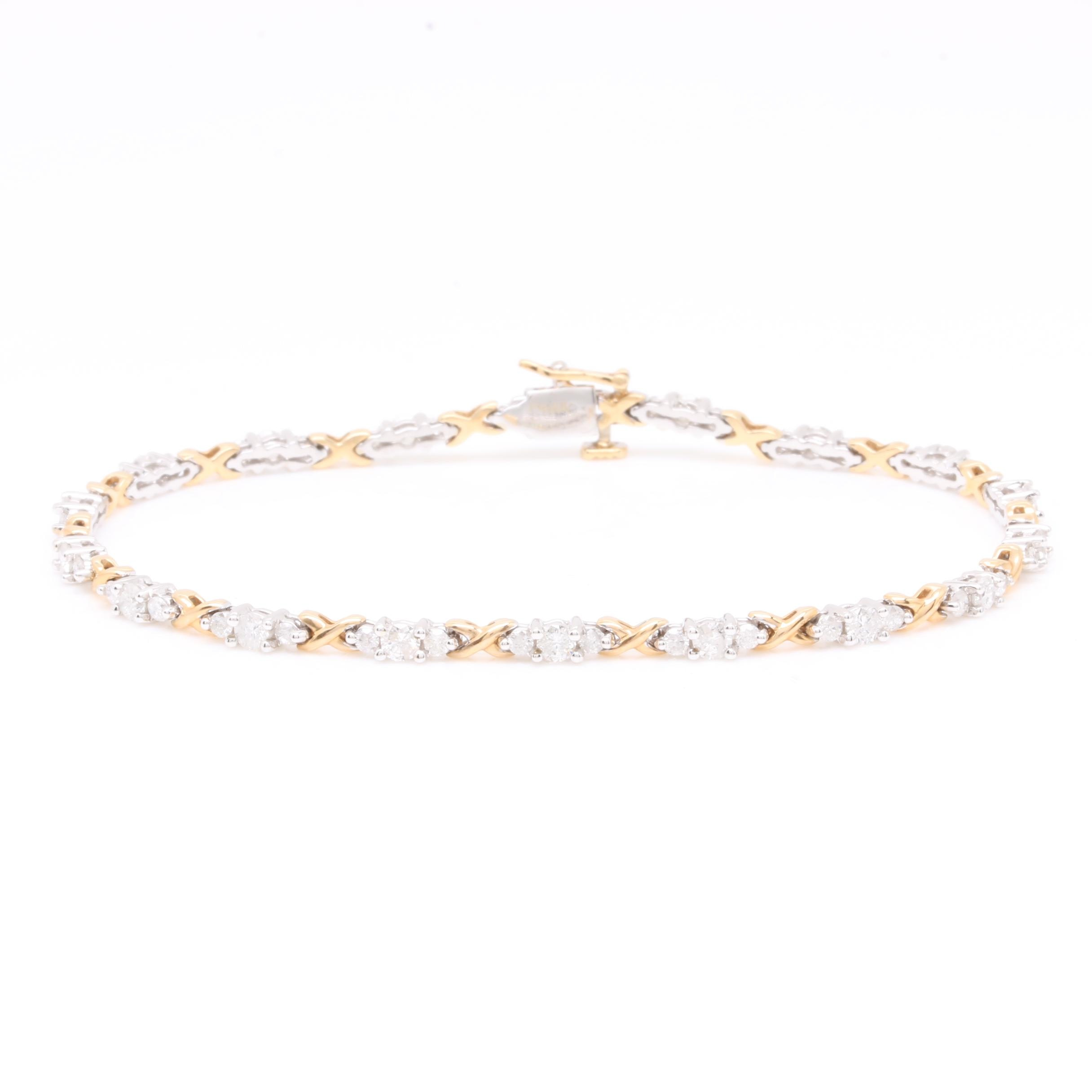 14K Two Tone Gold 1.70 CTW Diamond Tennis Bracelet