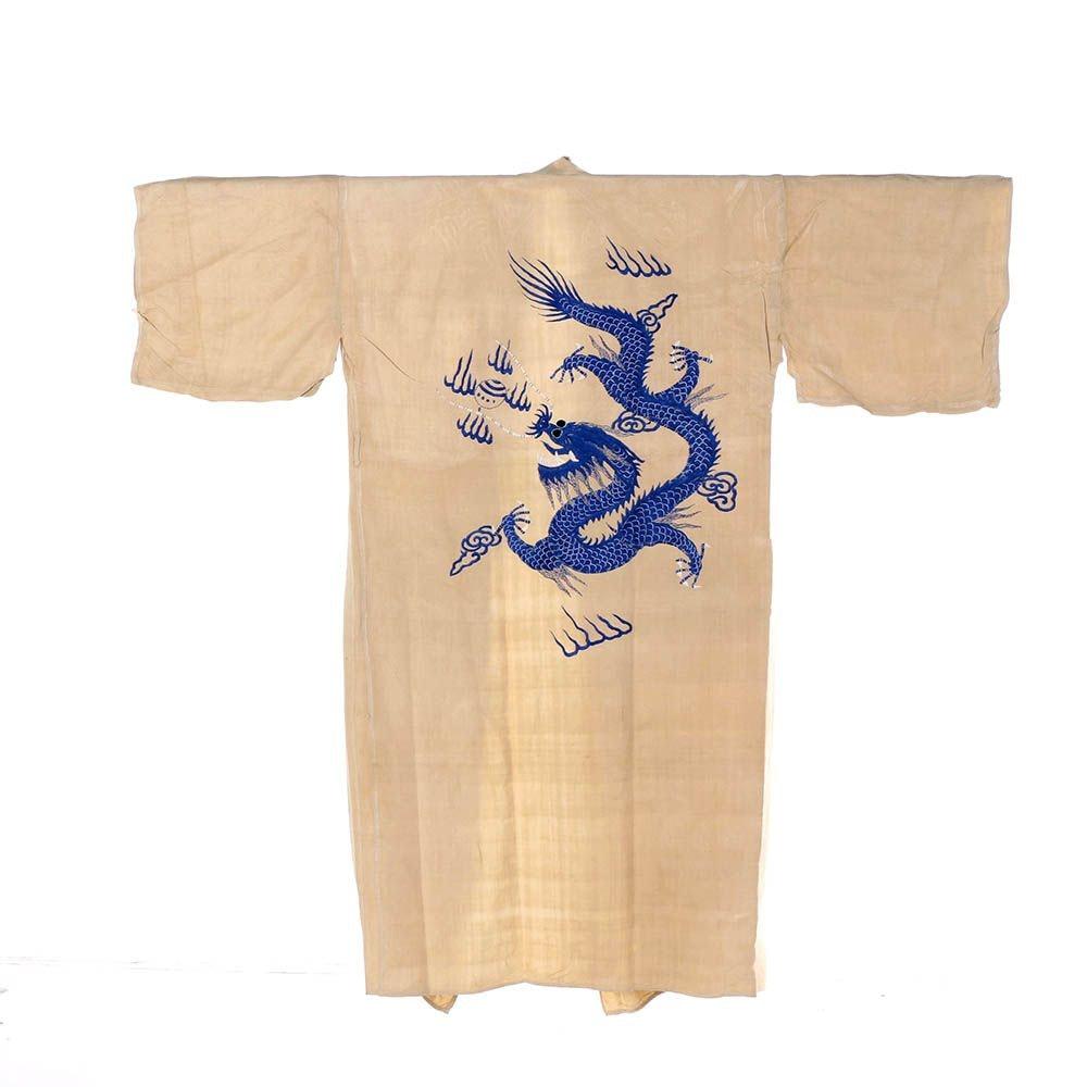 Vintage Japanese Silk Kosode Kimono Style Robe with Dragon Embroidery