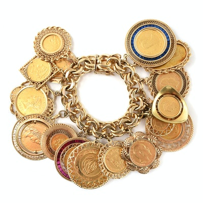 14K Yellow Gold Bracelet with Sixteen World Gold Coin Charms