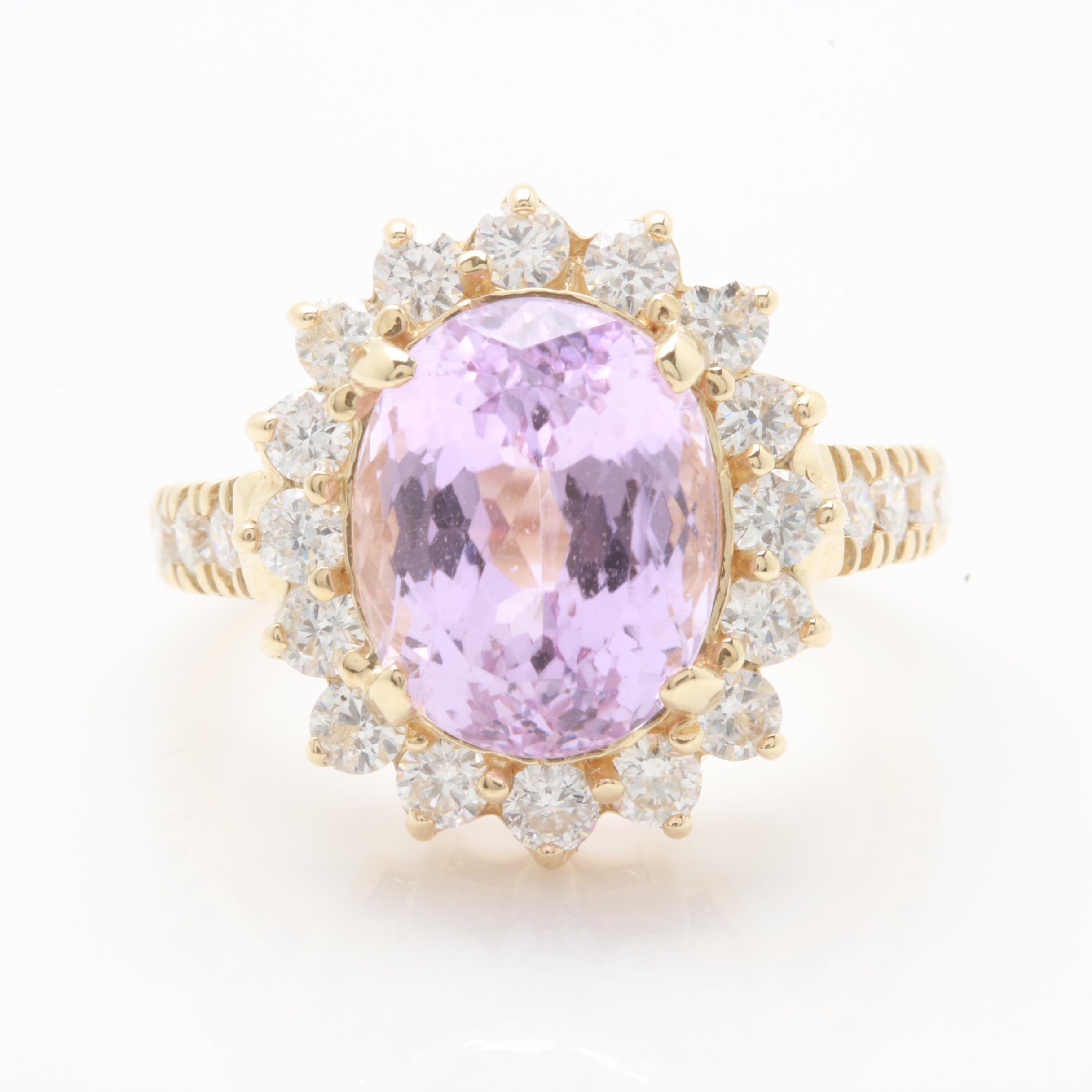 14K Yellow Gold 4.23 CT Kunzite and 1.05 CTW Diamond Ring