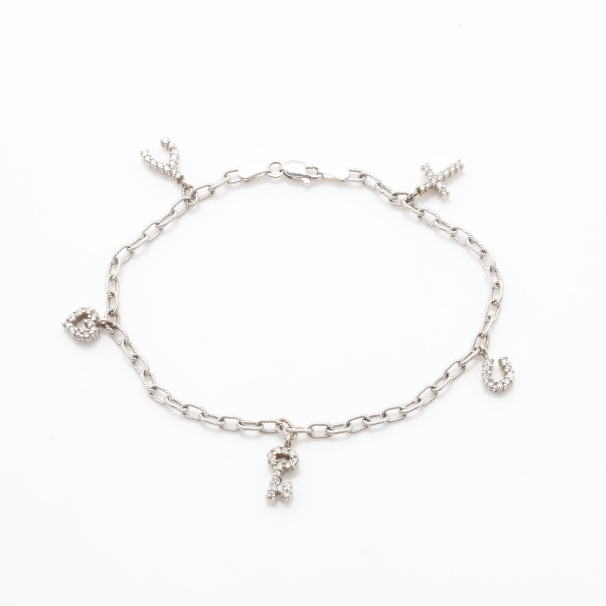 14K White Gold Diamond Charm Bracelet