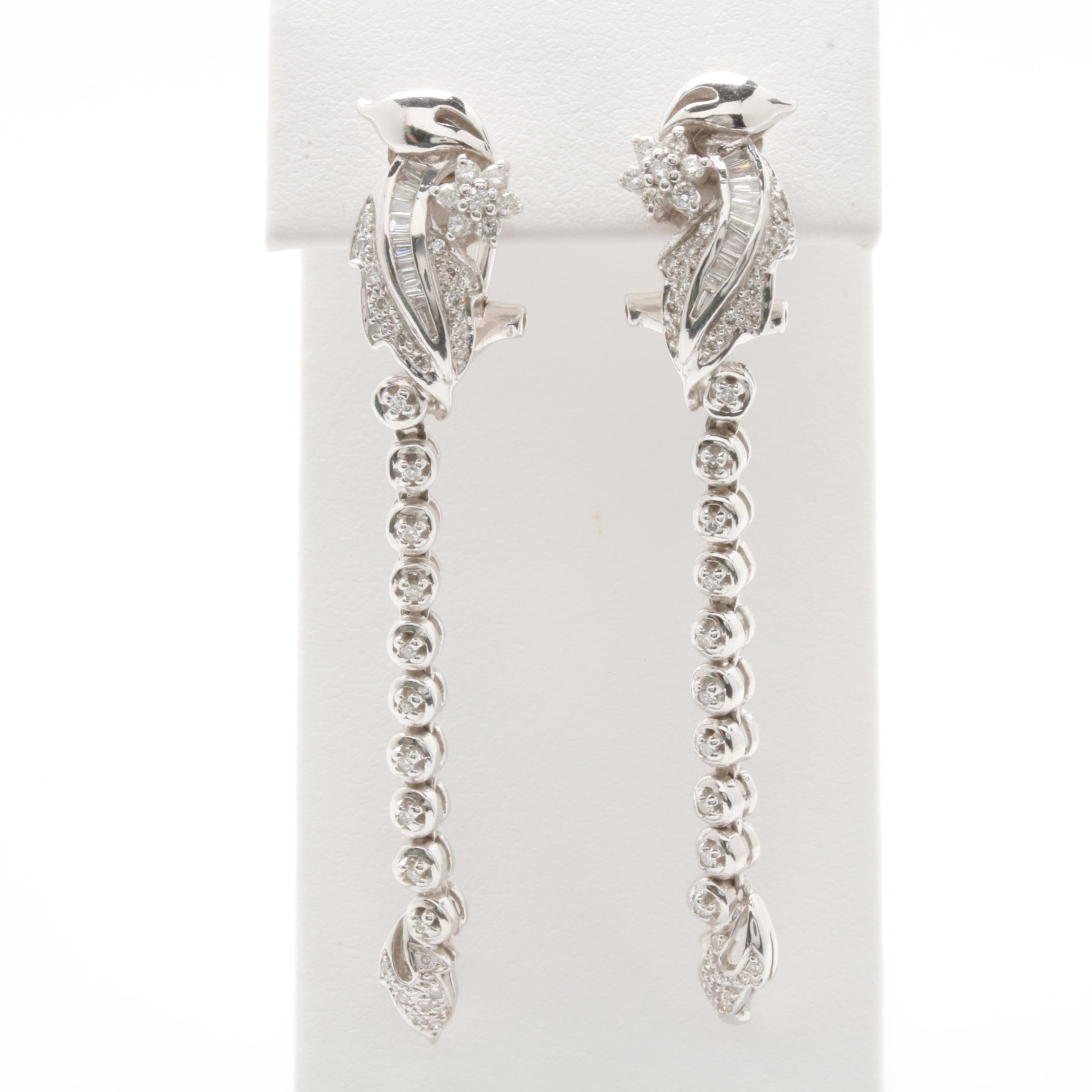 18K White Gold 1.02 CTW Diamond Convertible Earrings