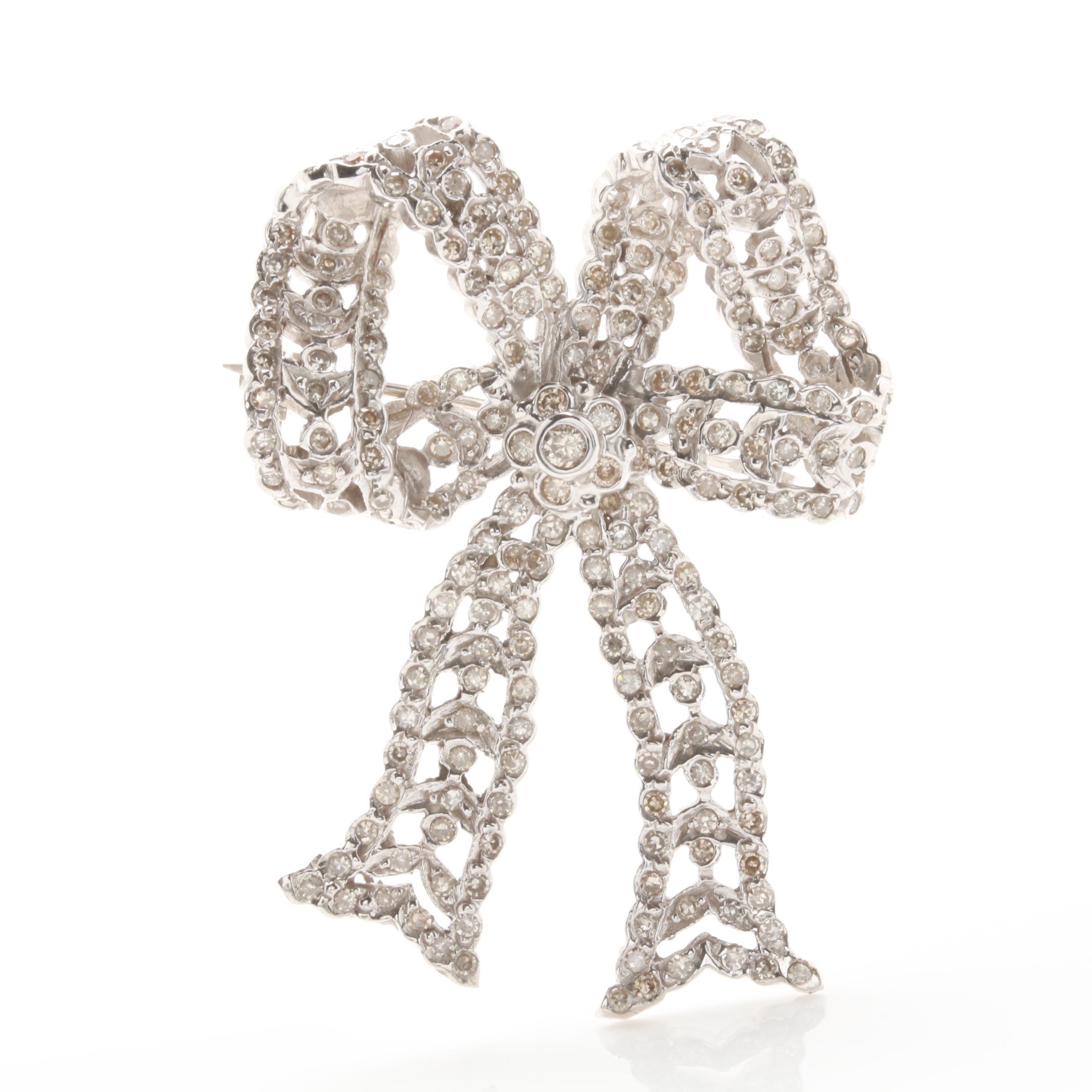 14K White Gold 1.54 CTW Diamond Bow Brooch