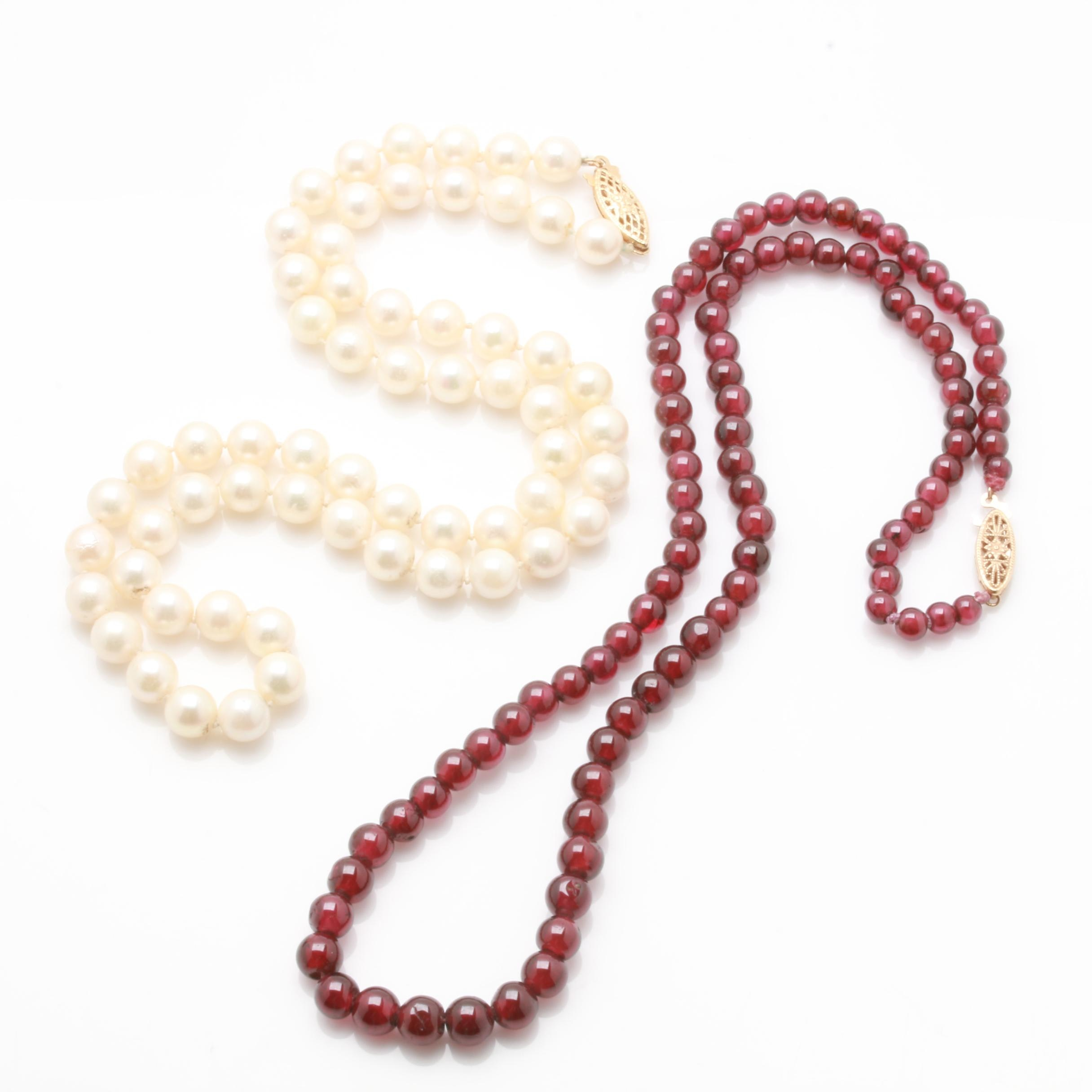 14K Yellow Gold Cultured Pearl and Rhodolite Garnet Necklaces