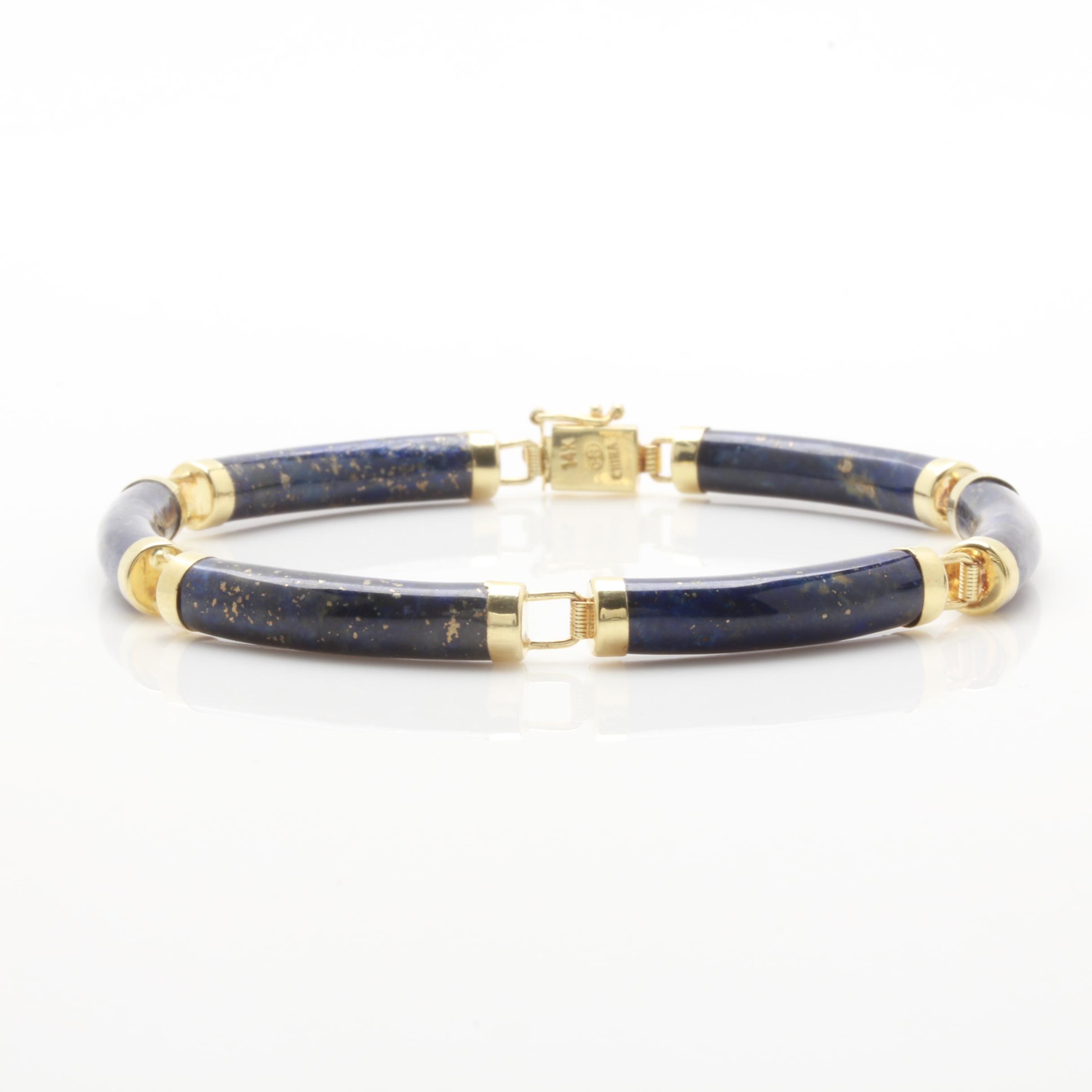 14K Yellow Gold Lapis Lazuli Bracelet