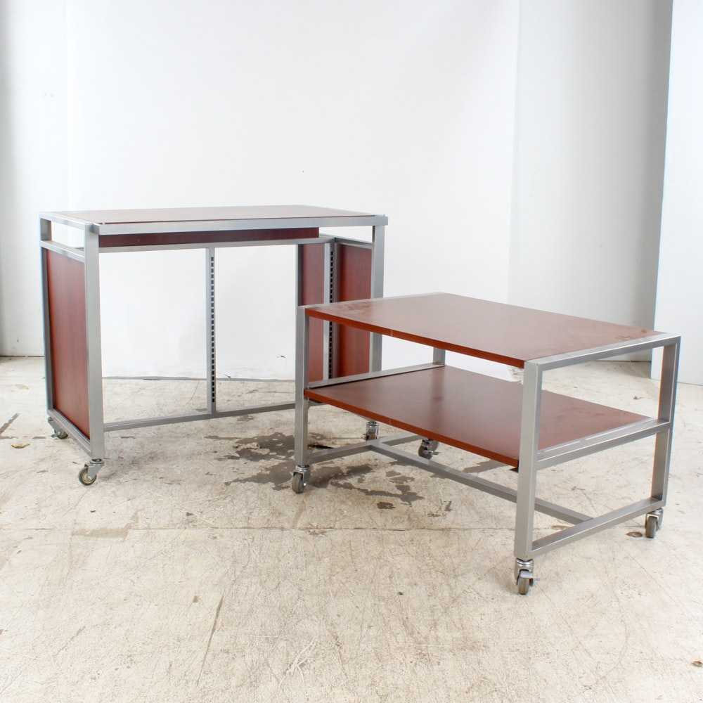 Pair of Industrial Retail Store Display Tables