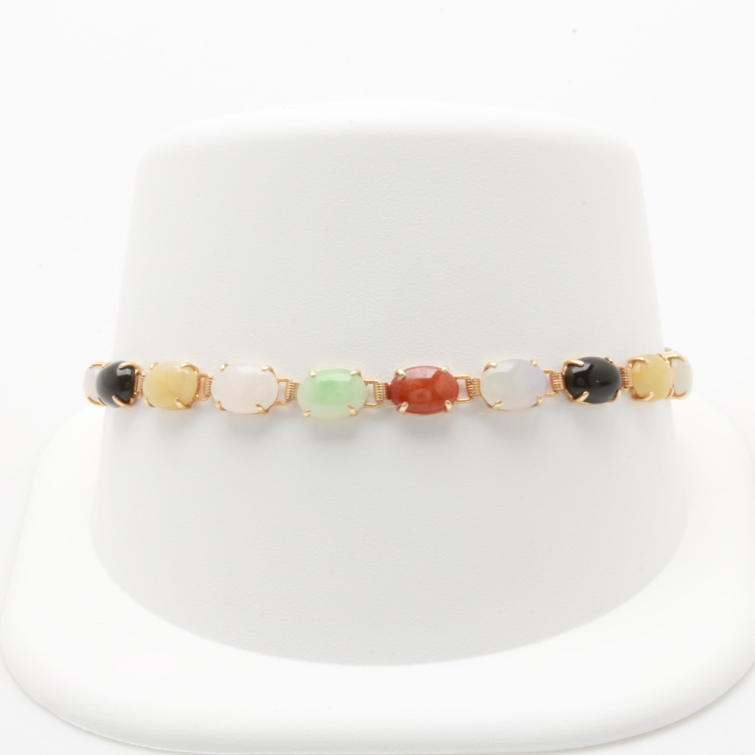 14K Yellow Gold Jadeite and Black Onyx Bracelet