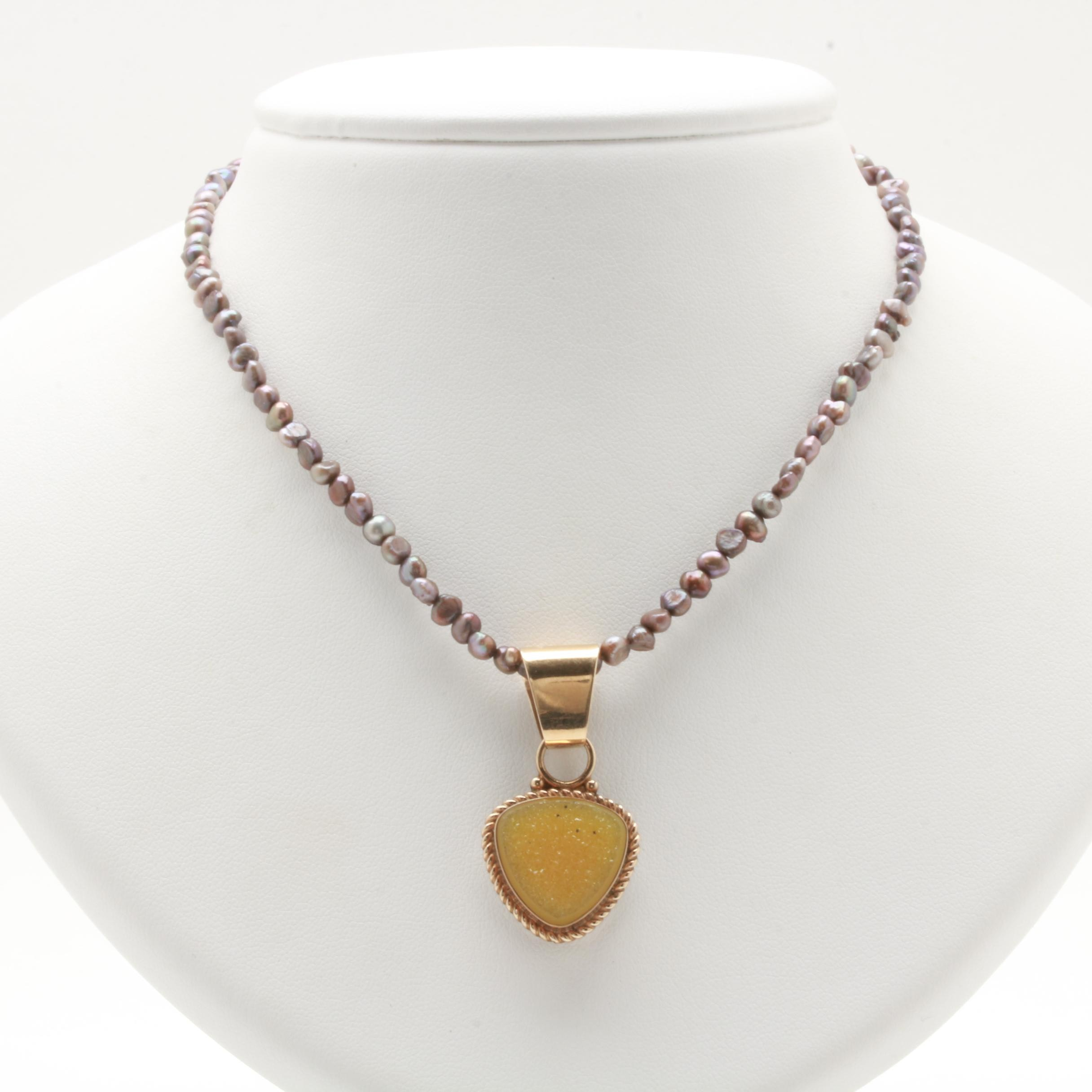 Jim Begay 14K Yellow Gold Sterling Silver Cultured Pearl and Druzy Necklace