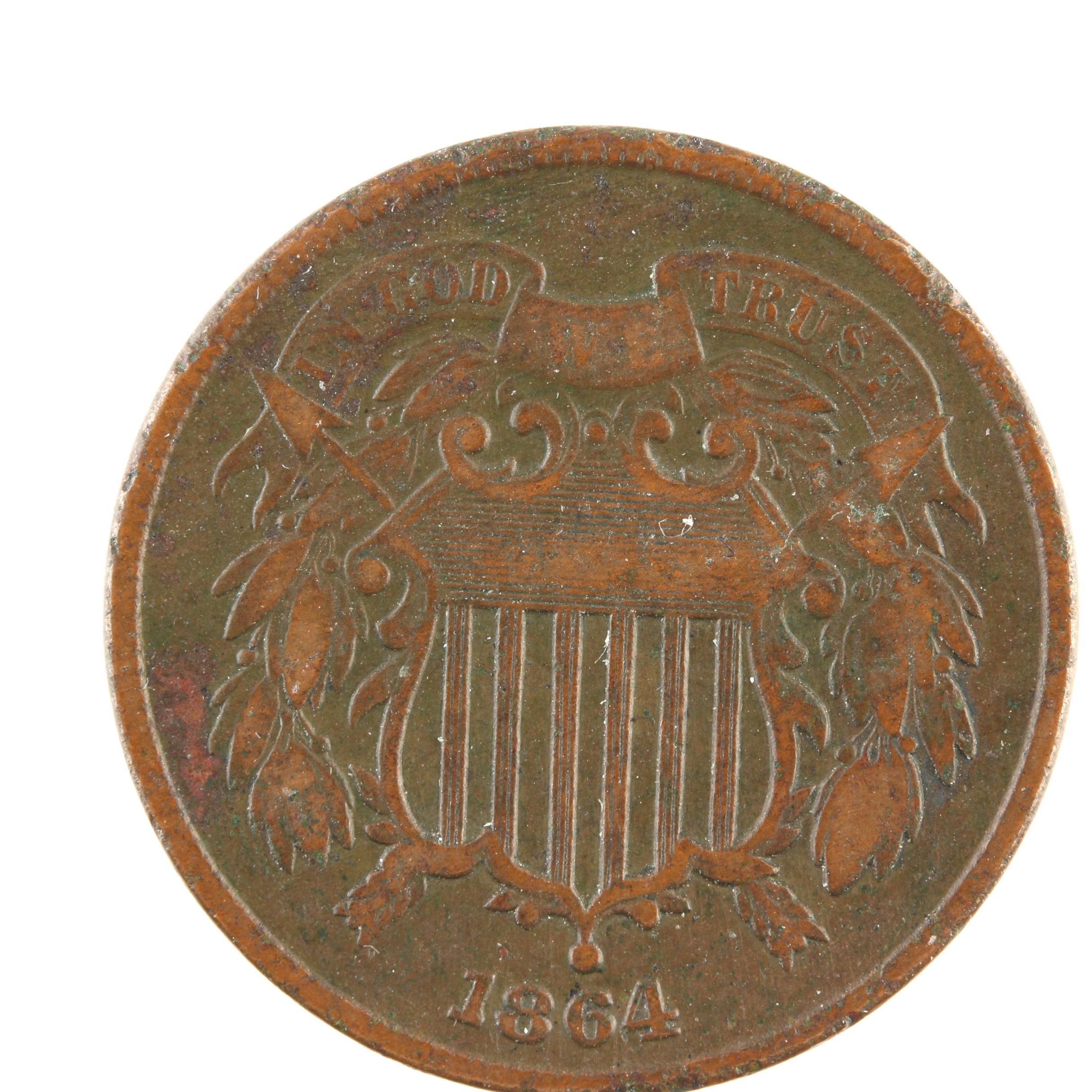 1864 Two-Cent Shield Coin