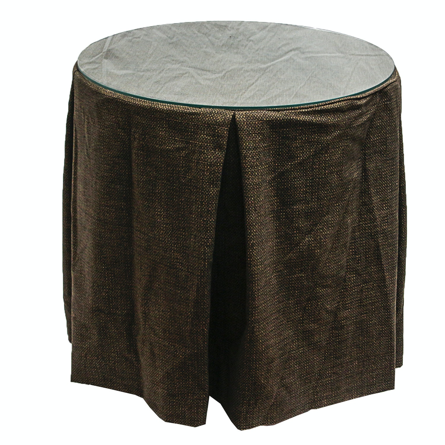 Pair of Covered Accent Tables with Glass Tops