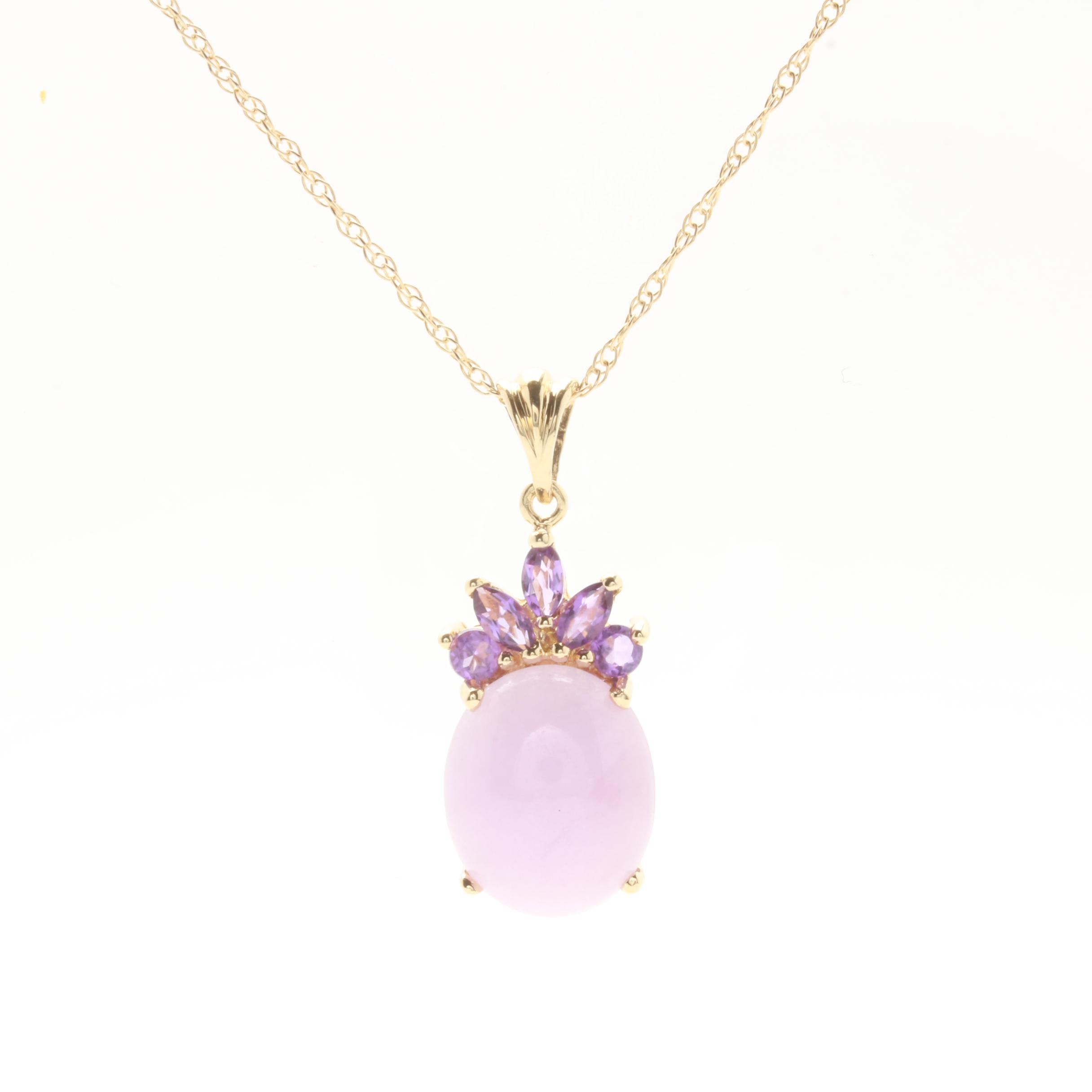 14K Yellow Gold Lavender Jadeite and Amethyst Pendant Necklace