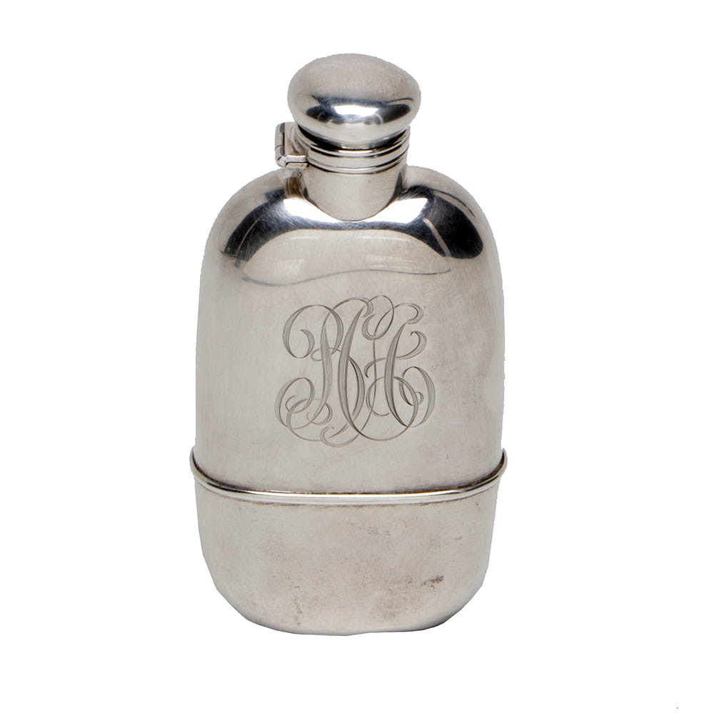 Gorham Sterling Silver and Glass Monogrammed Flask