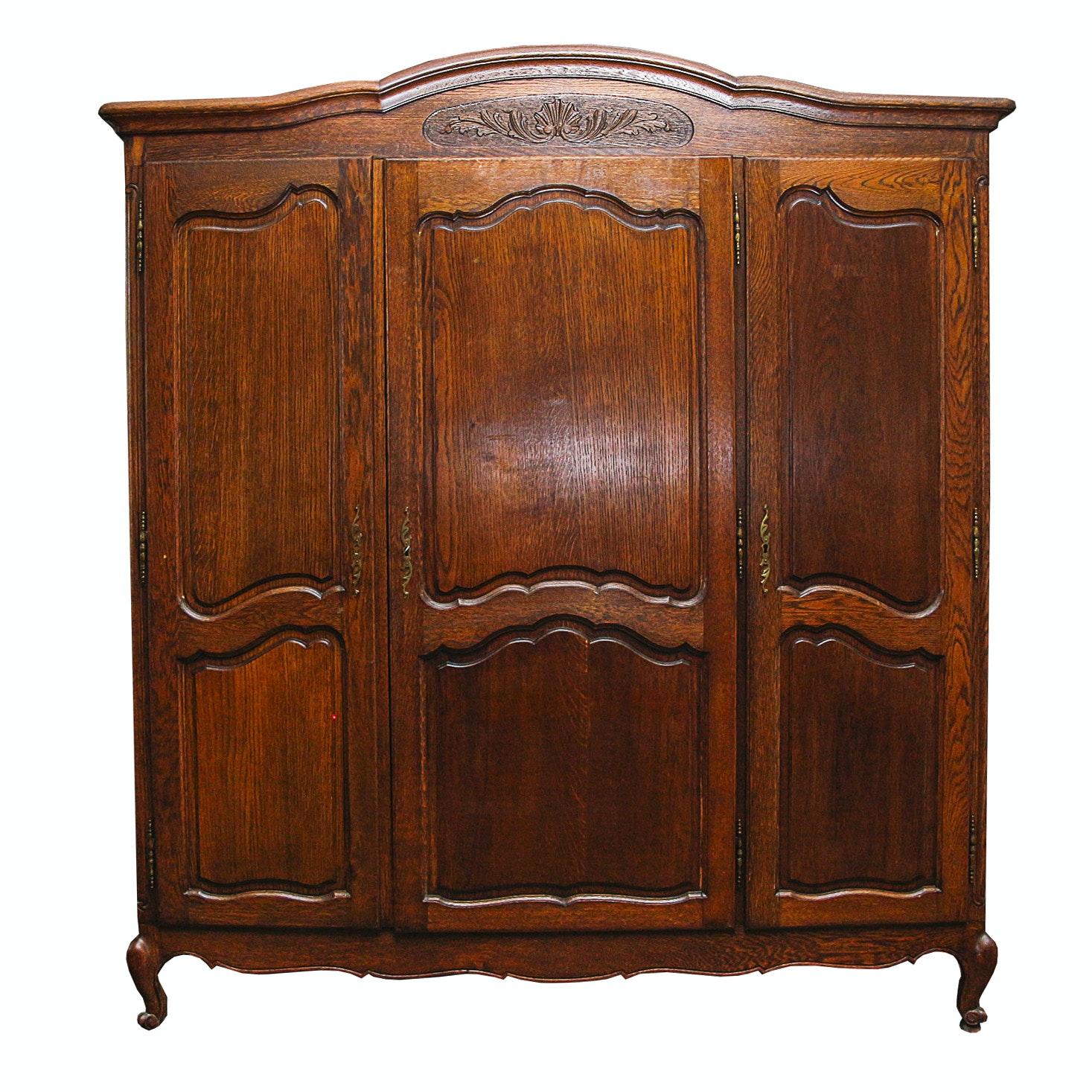 Vintage Provincial Style Oak Wardrobe