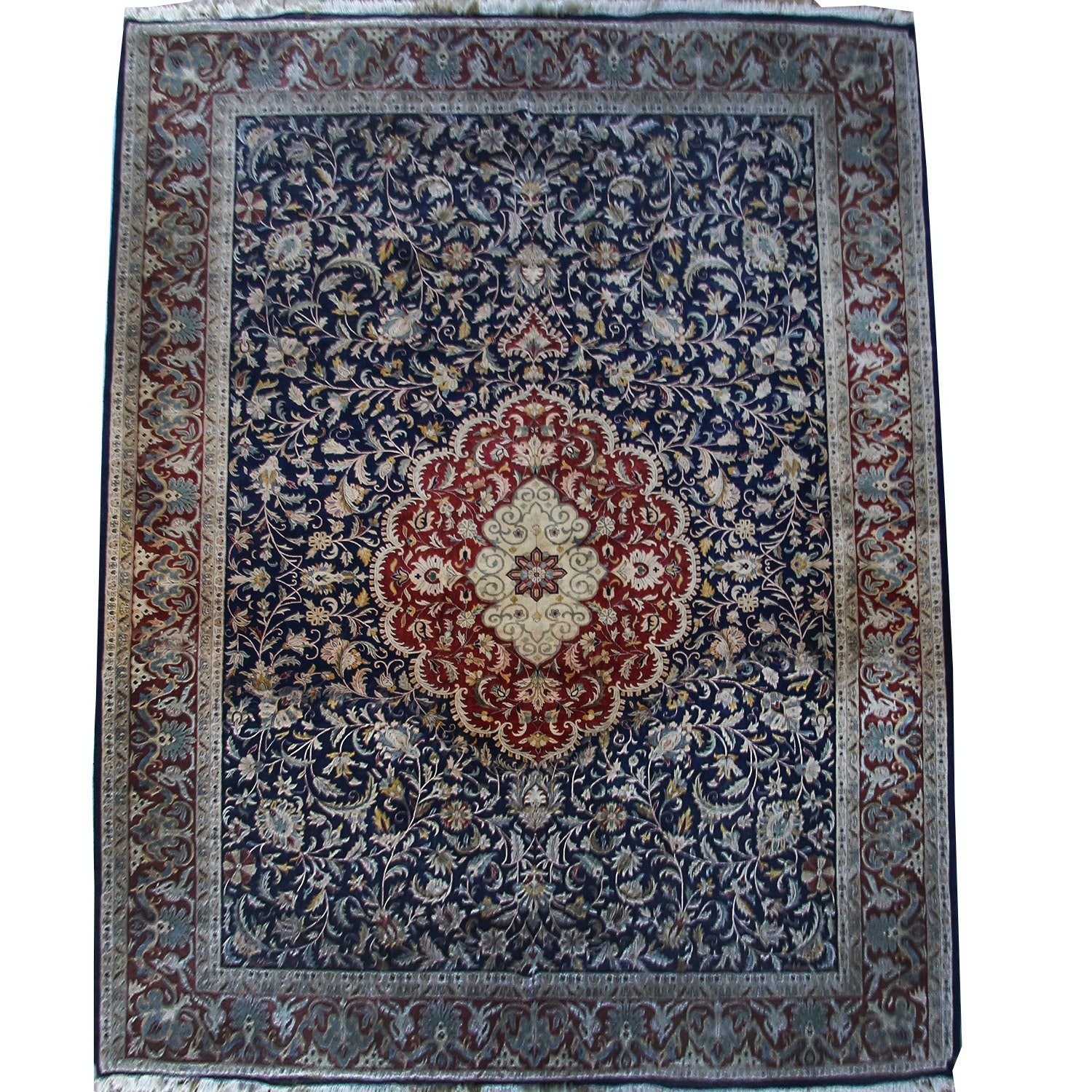 Hand-Knotted Persian Tabriz Silk and Wool Palace Sized Rug