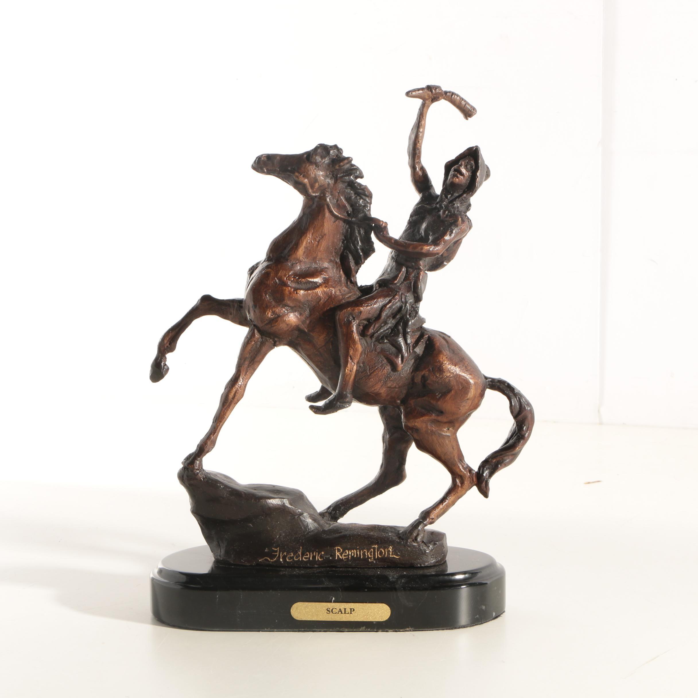 "Reproduction Metal Sculpture After Frederic Remington ""Scalp"""