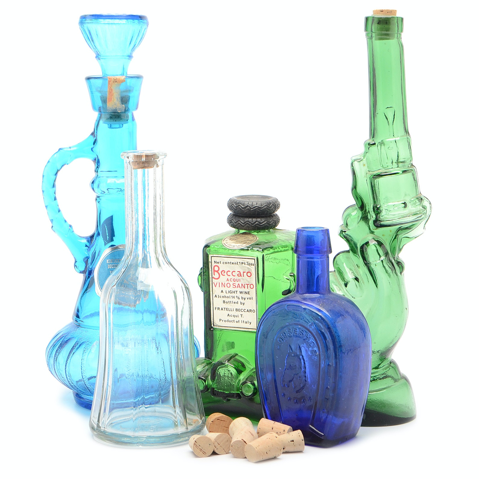 Collection of Vintage Blue and Green Glass Alcohol Bottles