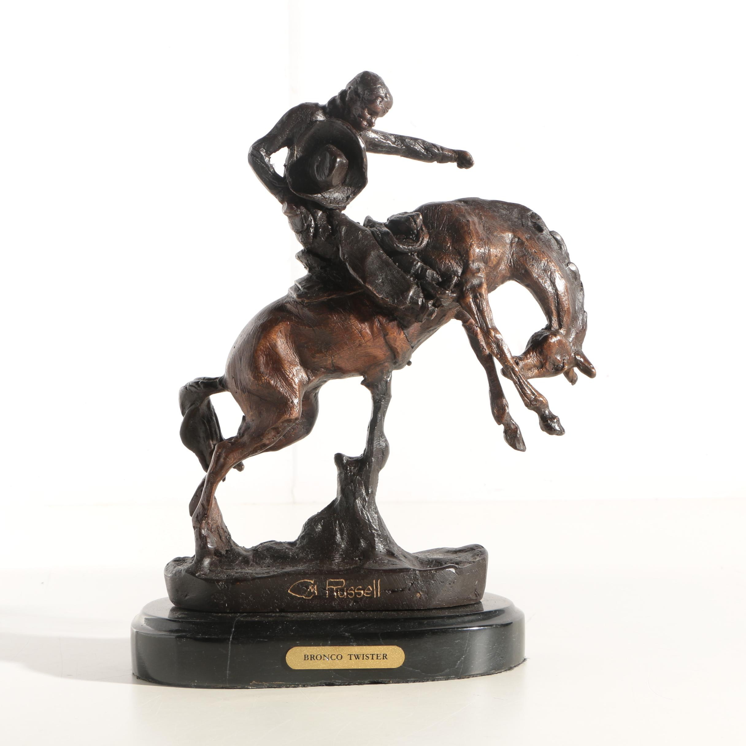 """Reproduction Metal Sculpture After C.M. Russell """"Bronco Twister"""""""