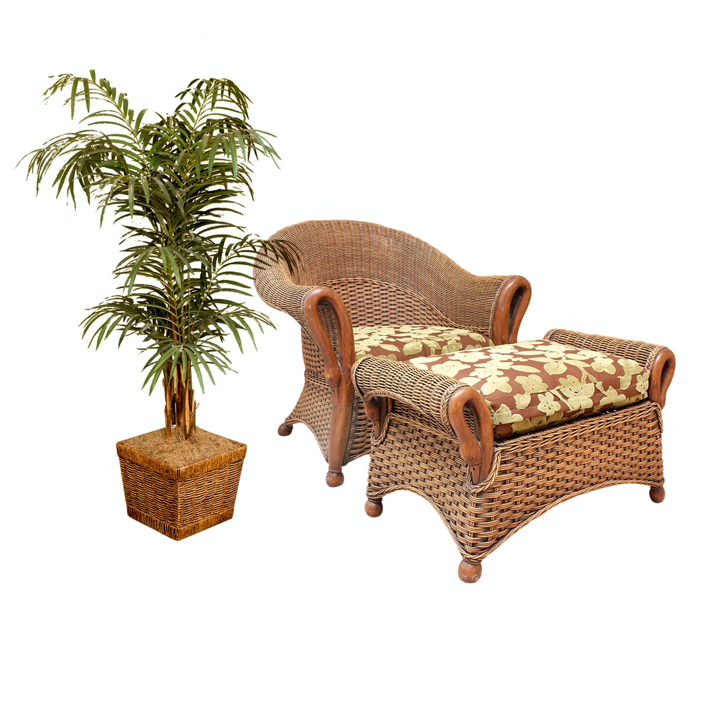 Rattan Chair and Matching Ottoman