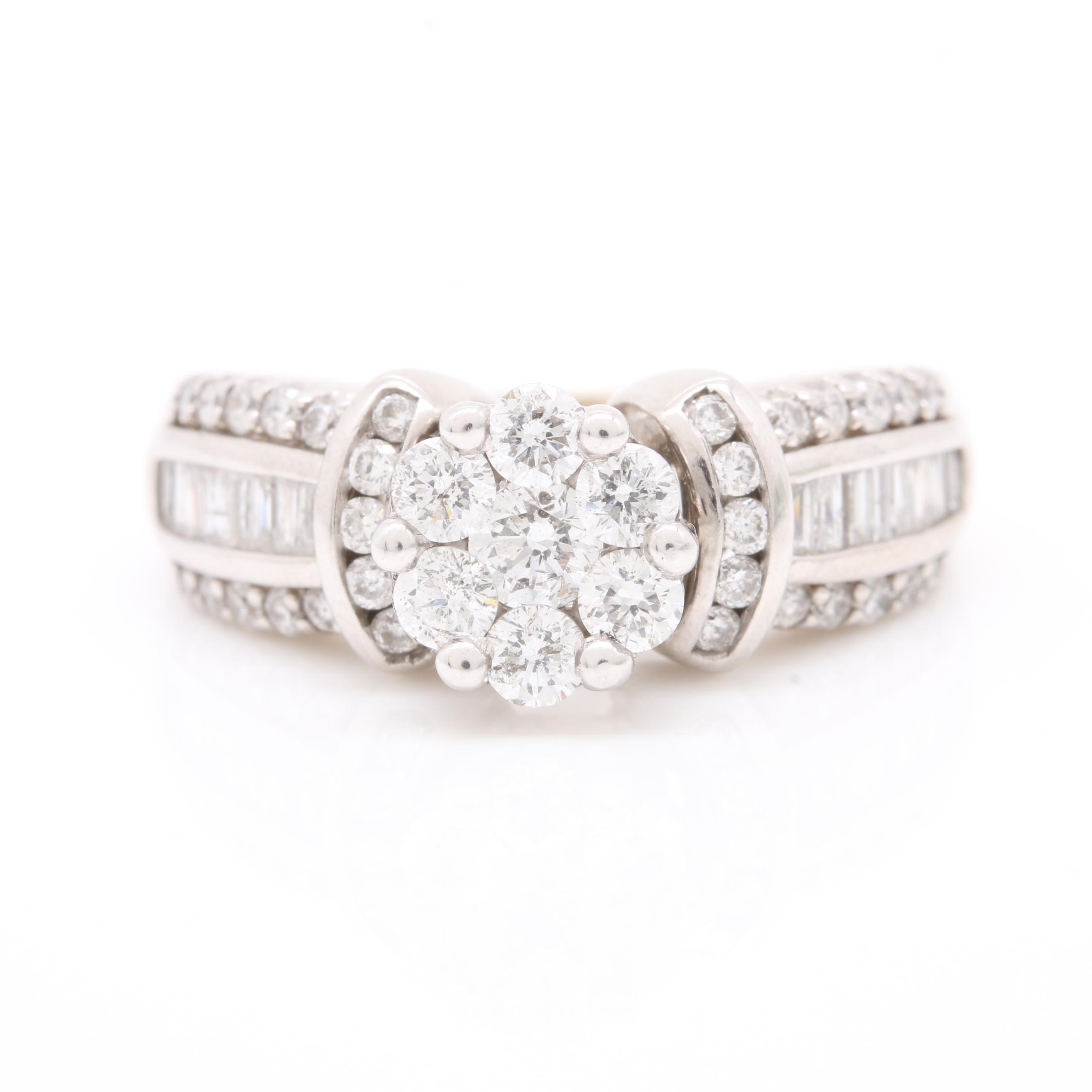 14K White Gold 1.46 CTW Diamond Ring