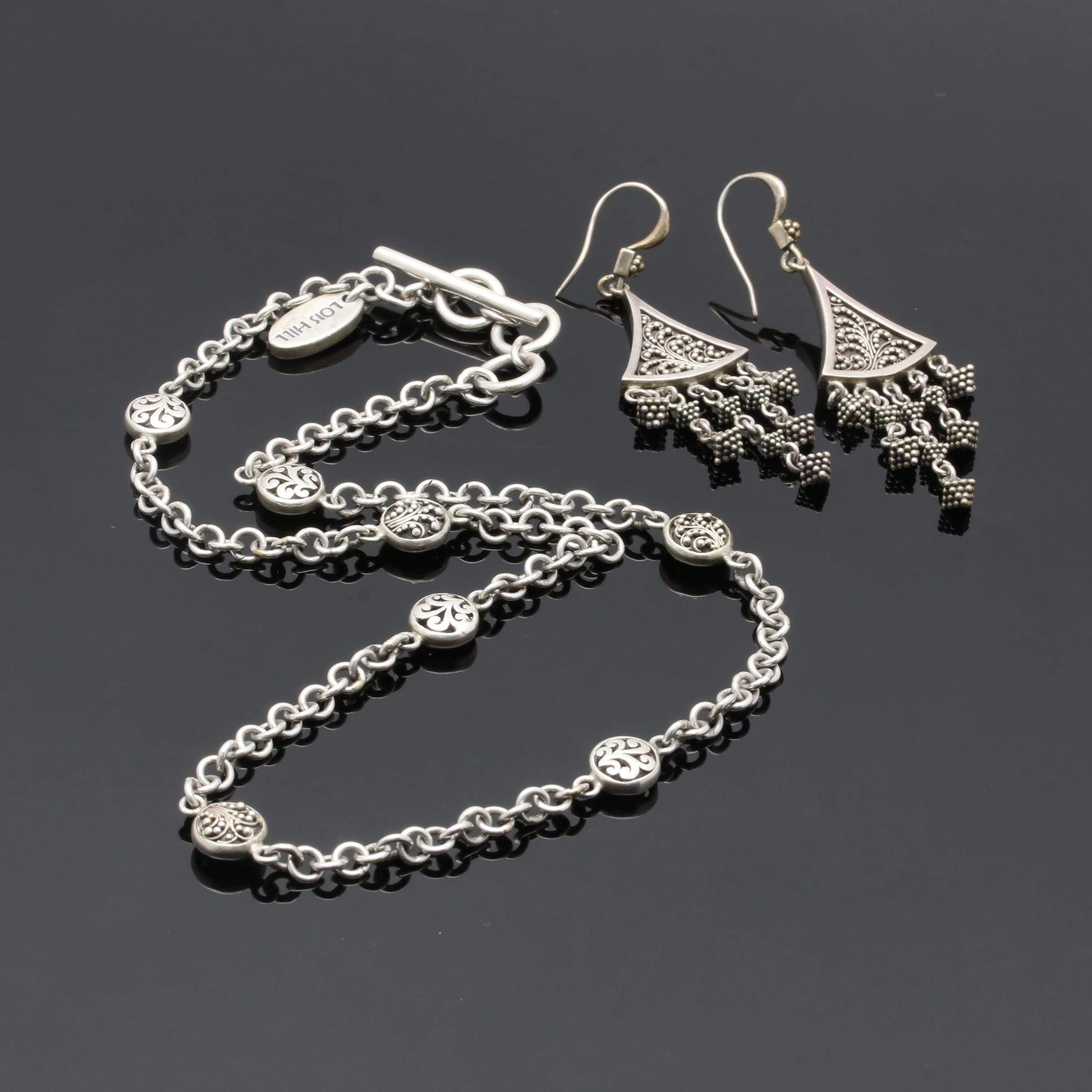 Lois Hill Sterling Silver Earring and Necklace Set