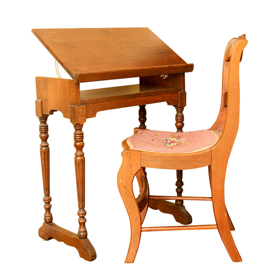 Vintage Needlepoint Chair and Library Table