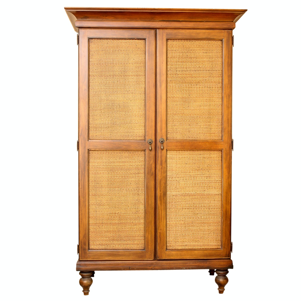 Wood and Woven Rattan Armoire