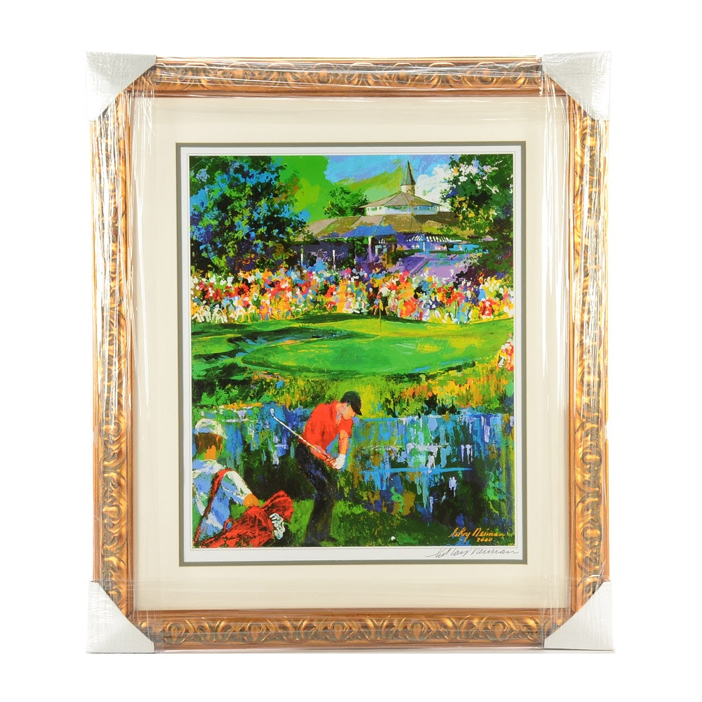 """2000 LeRoy Nieman Signed """"Valhalla Golf Club"""" Matted and Framed Lithograph COA"""