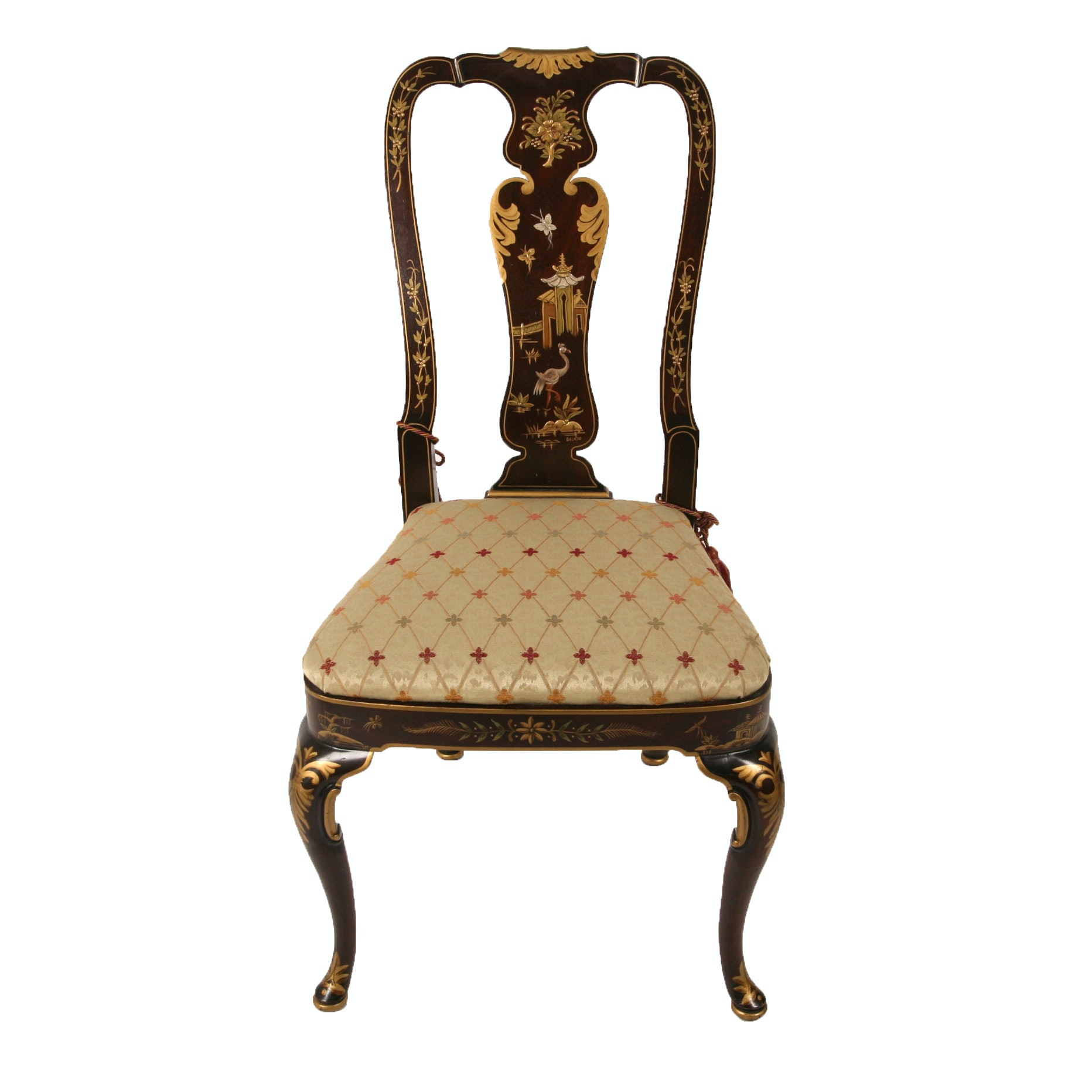 Vintage Chinoiserie Hand Painted Side Chair by Delano