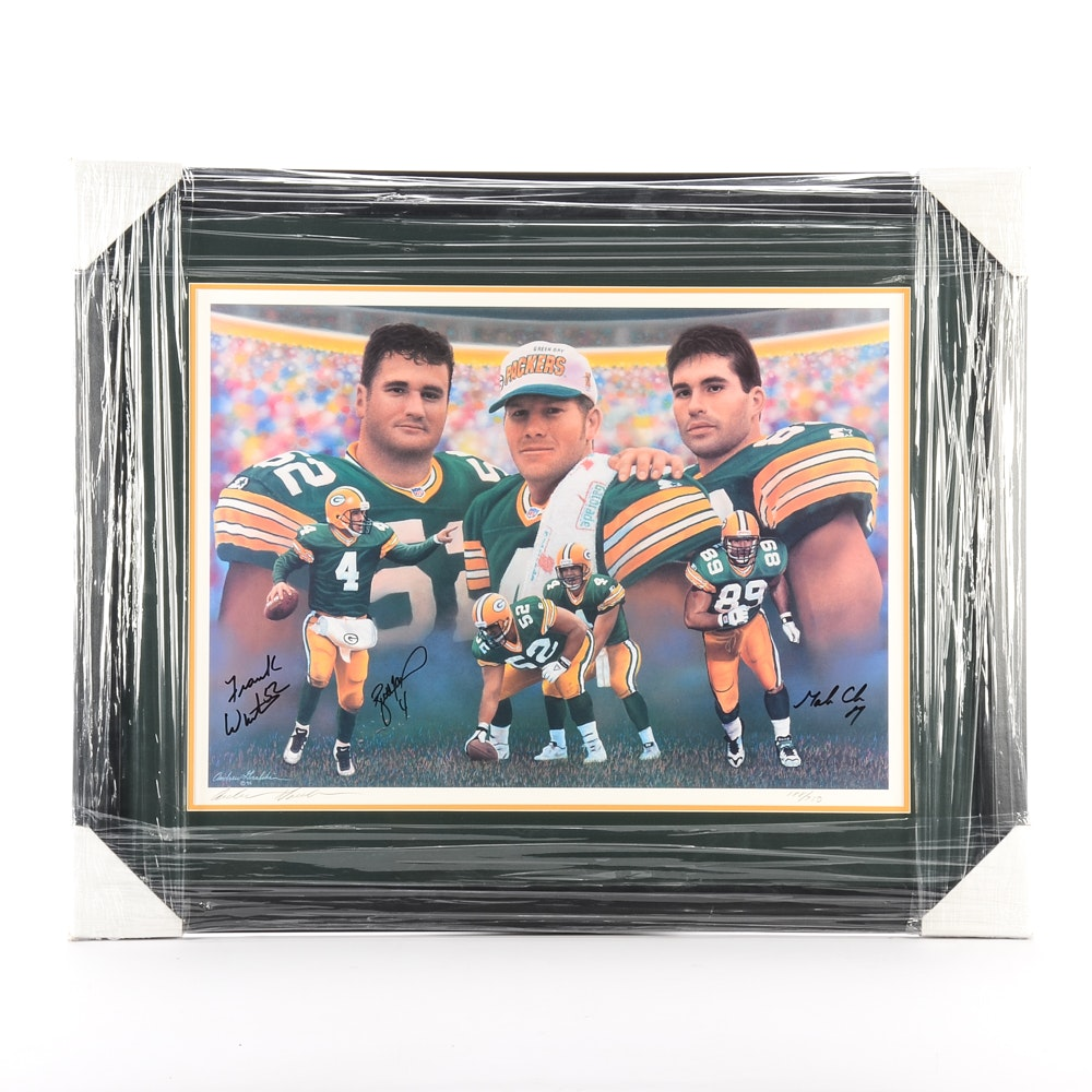 Green Bay Packers and Brett Farve Signed Matted and Framed NFL Football Display