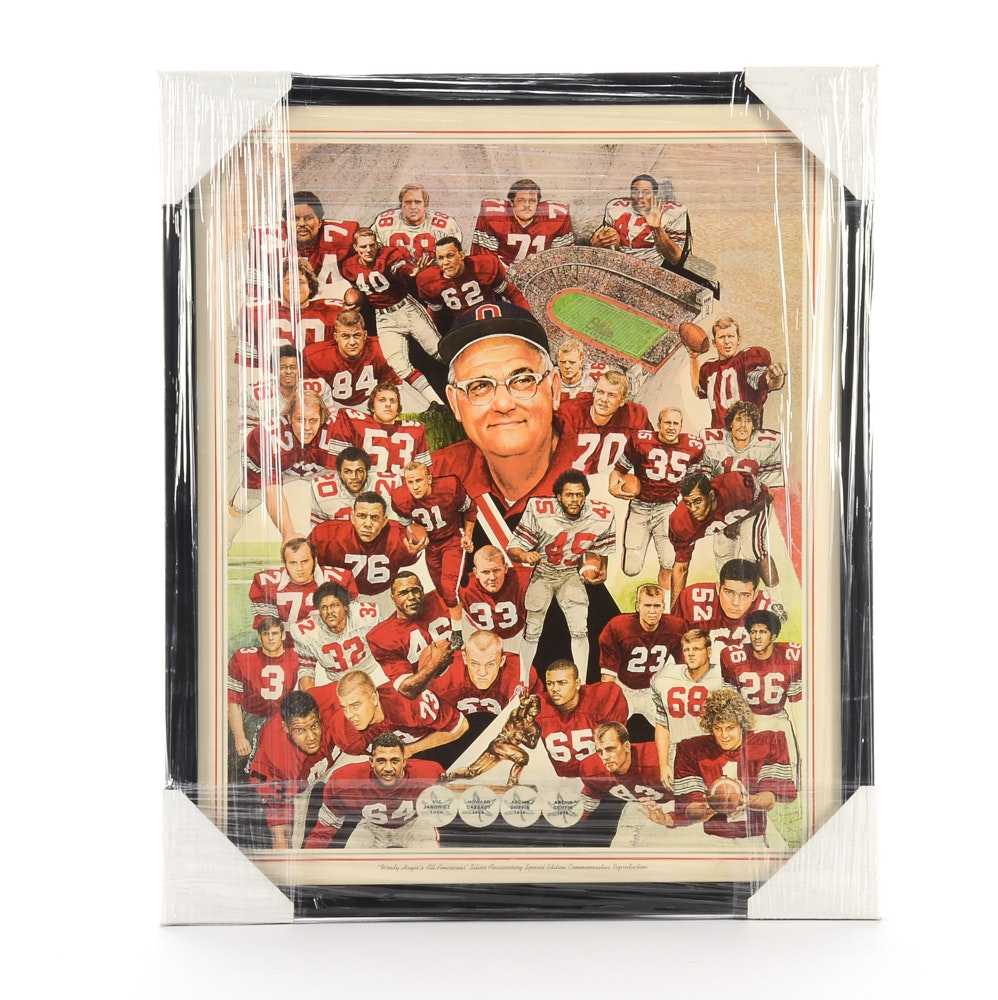 """Matted and Framed """"Woody Hayes's Silver Anniversary"""" Ohio State Football Team"""