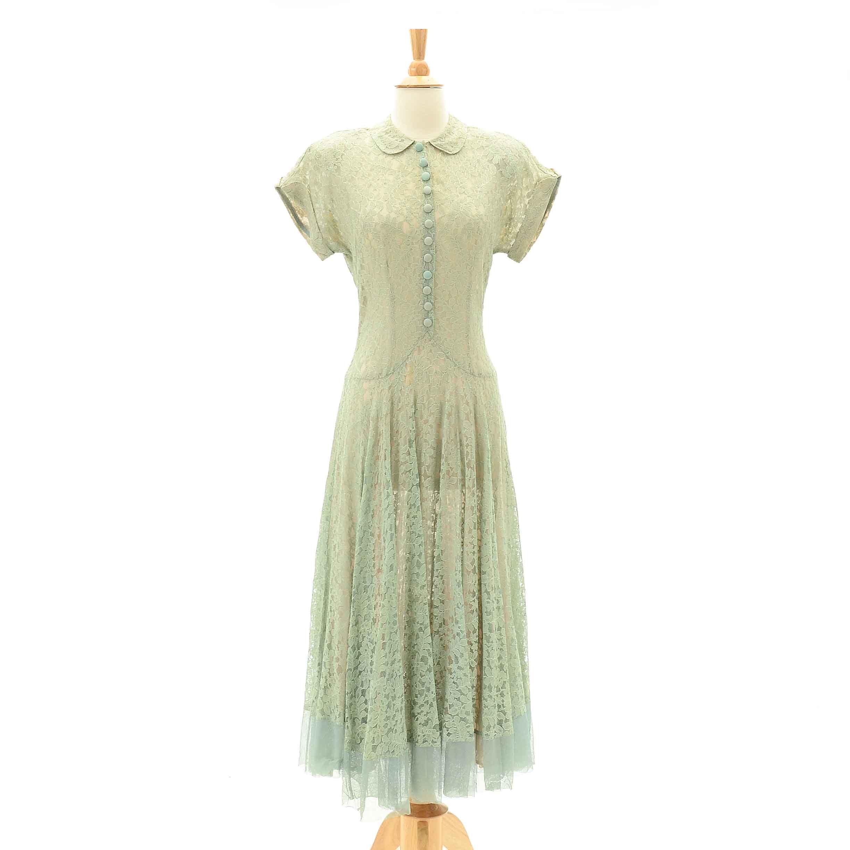 1940s Vintage Pale Green Lace Dress