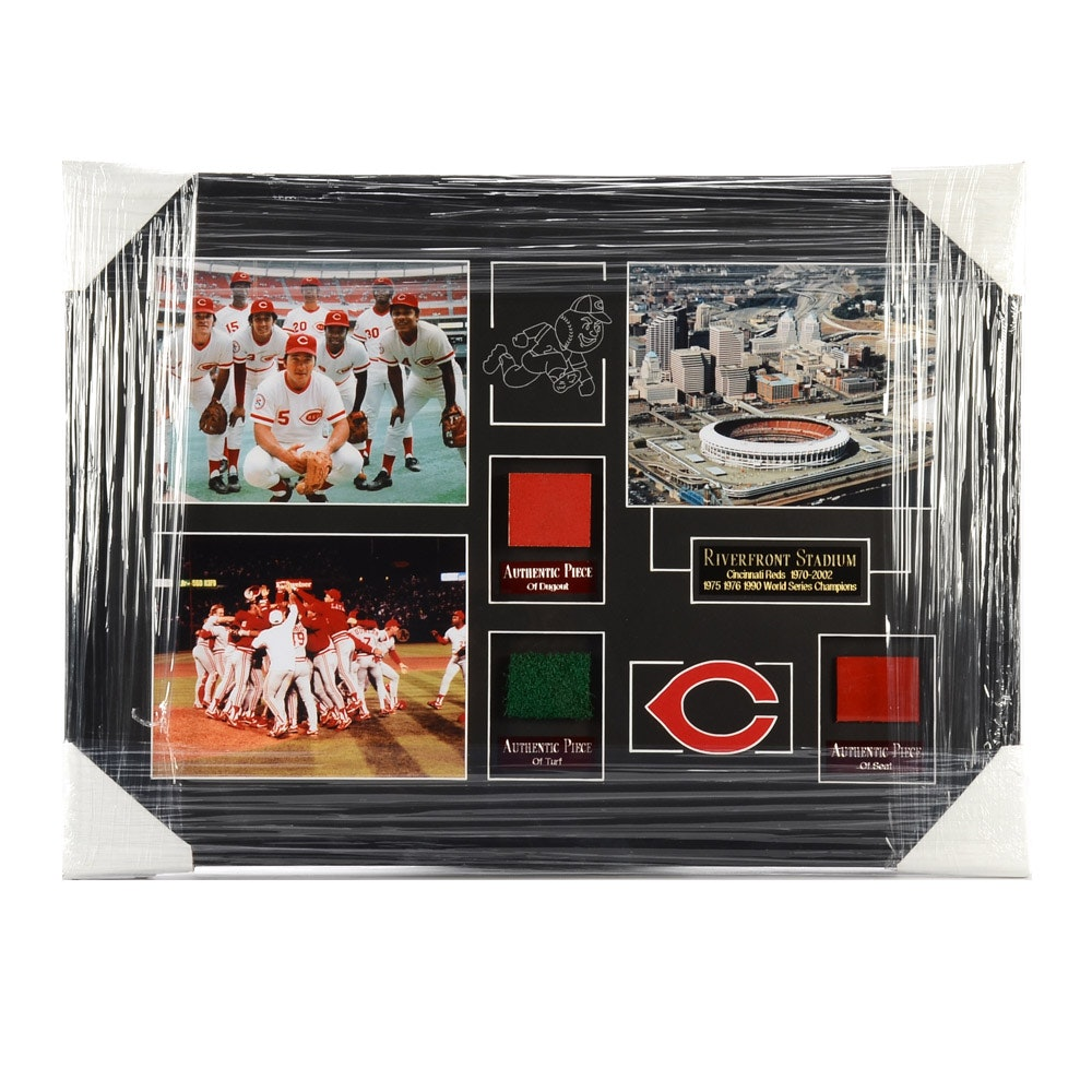 Riverfront Stadium Artifacts Matted and Framed Baseball Display