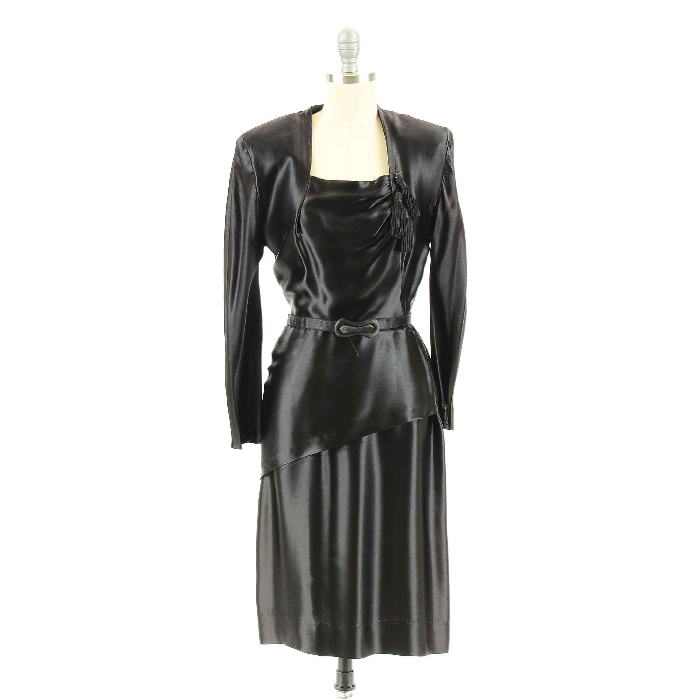 Vintage 1920s Satin Evening Dress