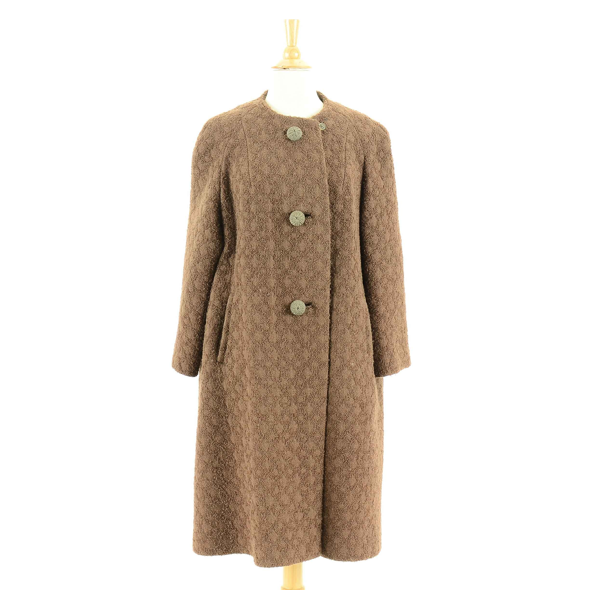 Vintage 1960s Women's Wool Swing Coat