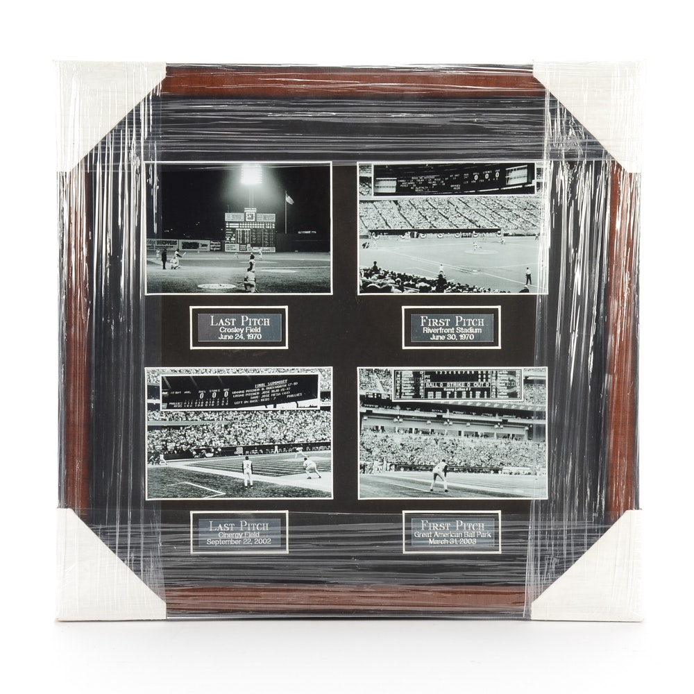 "Contemporary ""Last-First Pitch"" Cincinnati Reds Ballparks Framed Display"