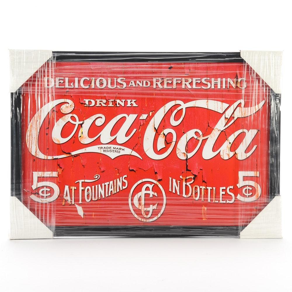 "Contemporary ""Coca-Cola"" Framed Advertising Display"