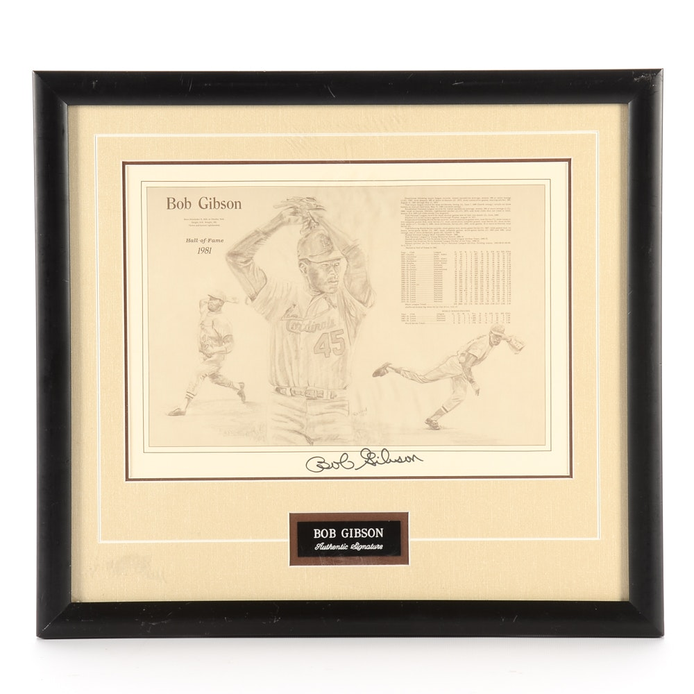 Bob Gibson St. Louis Cardinals Signed Framed and Matted Baseball Display