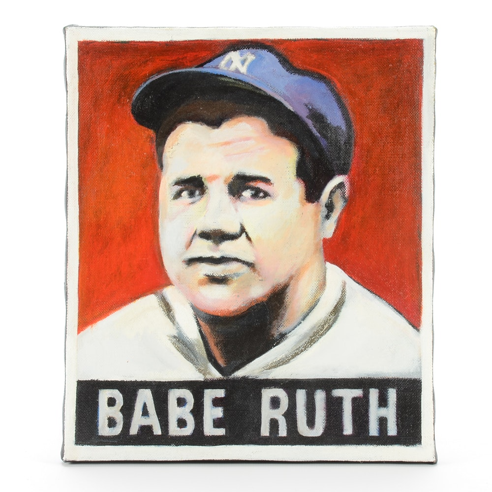 2006 Babe Ruth 1948 Leaf Baseball Card Oil Painting