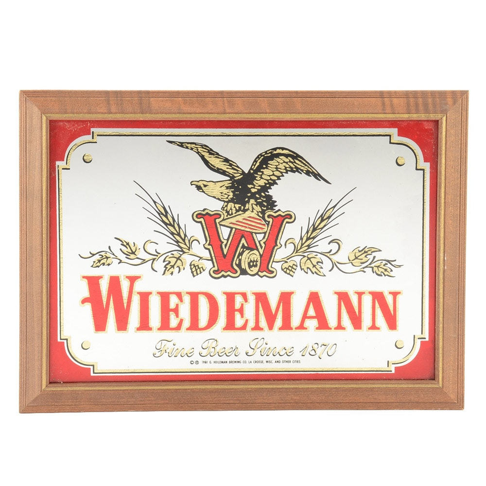 1981 Wiedemann Beer Advertising Mirror Sign