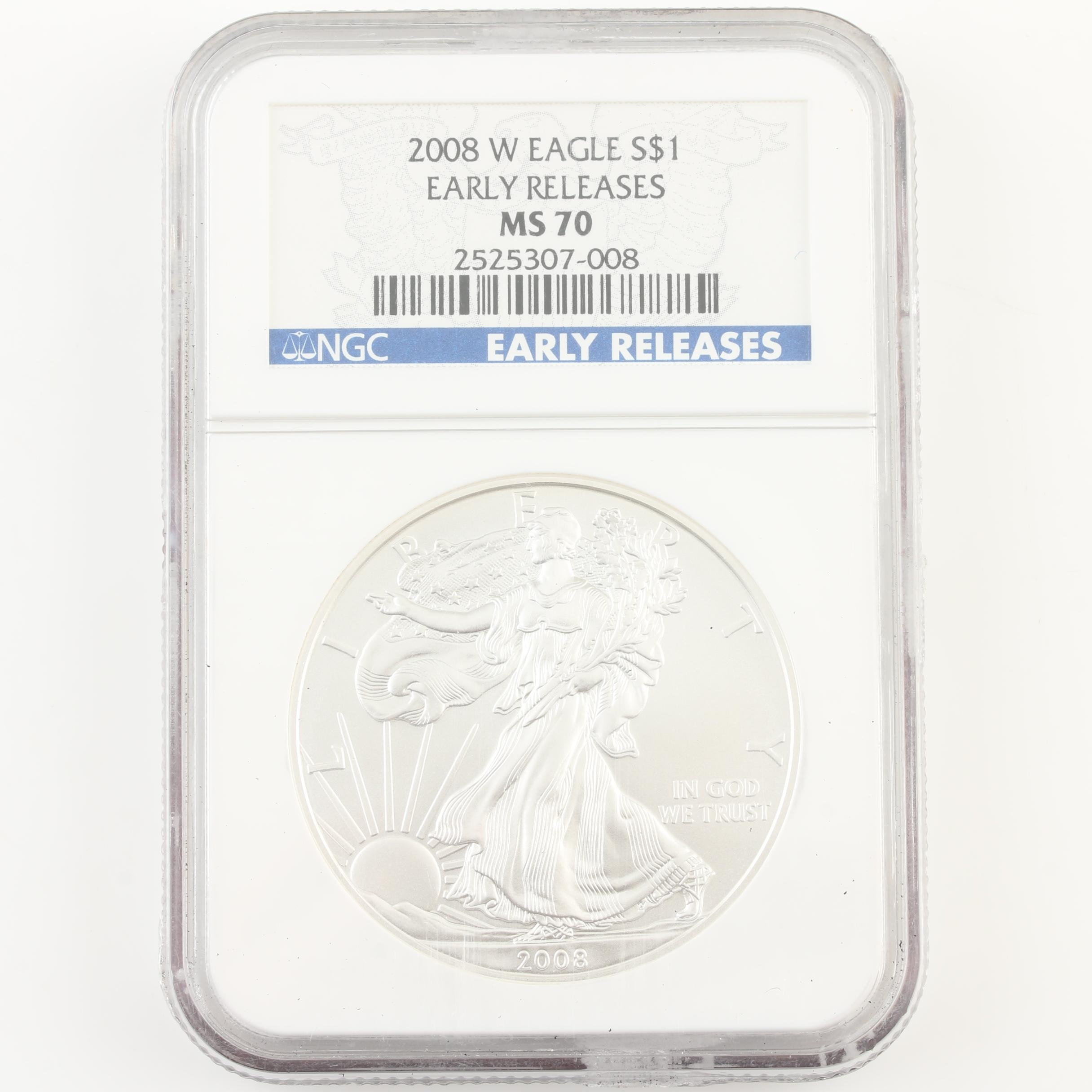 NGC Graded MS70 2008-W Walking Liberty Silver Eagle